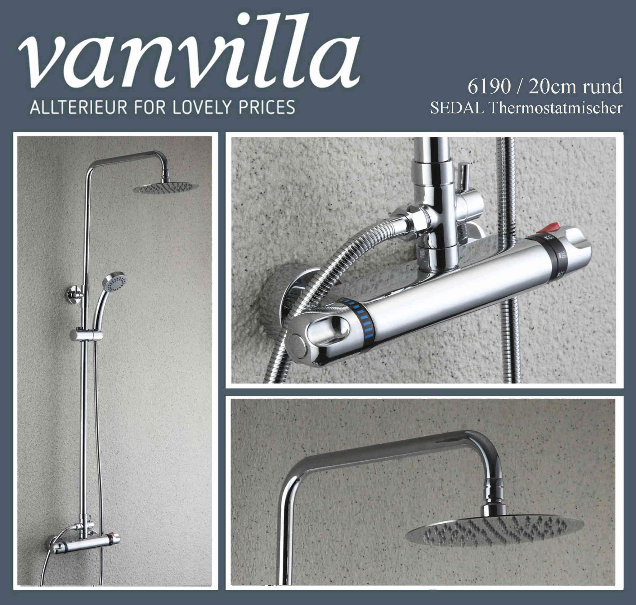 dusch set vanvilla thermostat duschkopf 20cm rund edelstahl poliert 6190. Black Bedroom Furniture Sets. Home Design Ideas