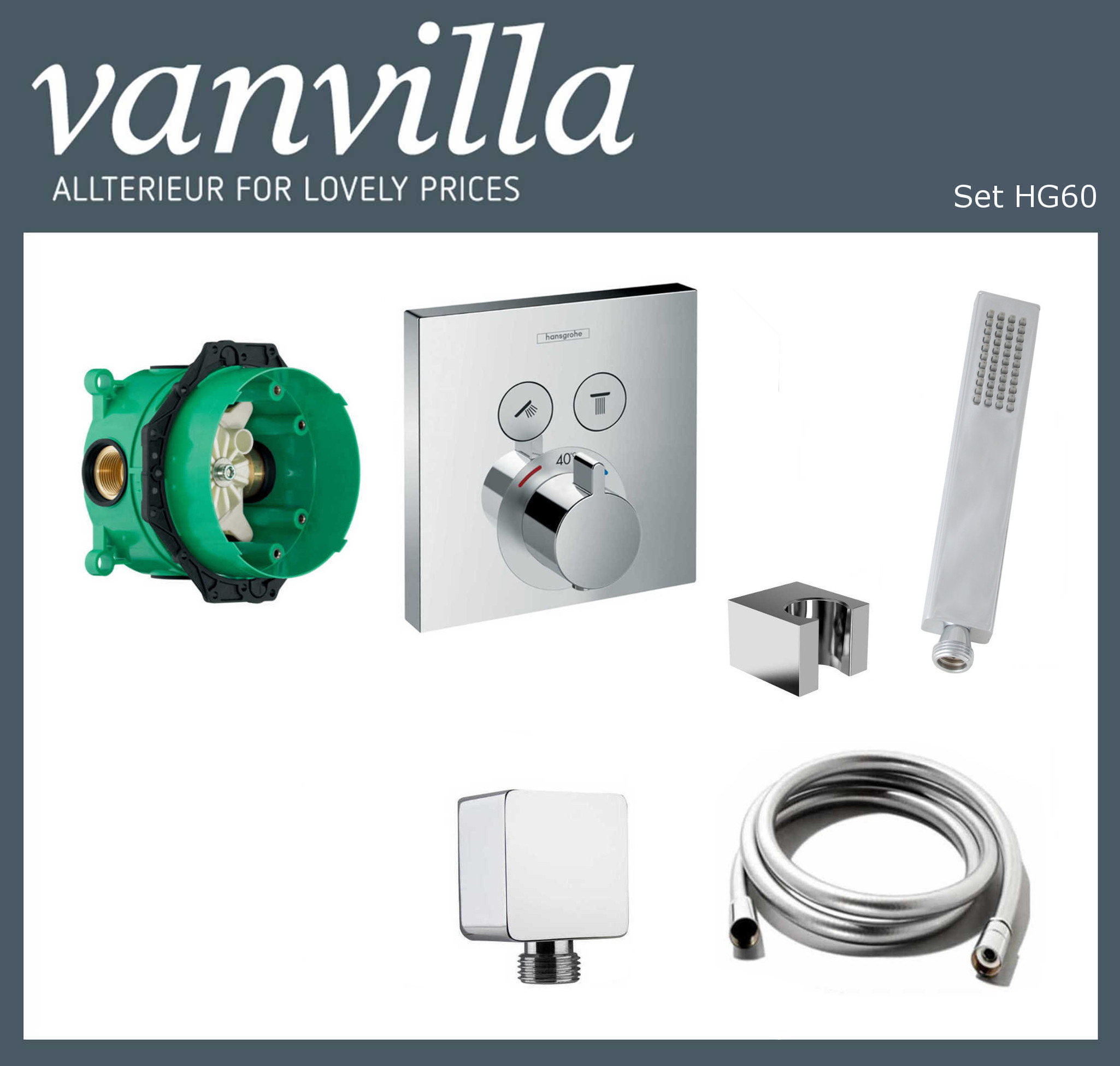 SET HG60 UP vanvilla mit Wannenarmatur Hansgrohe ShowerSelect