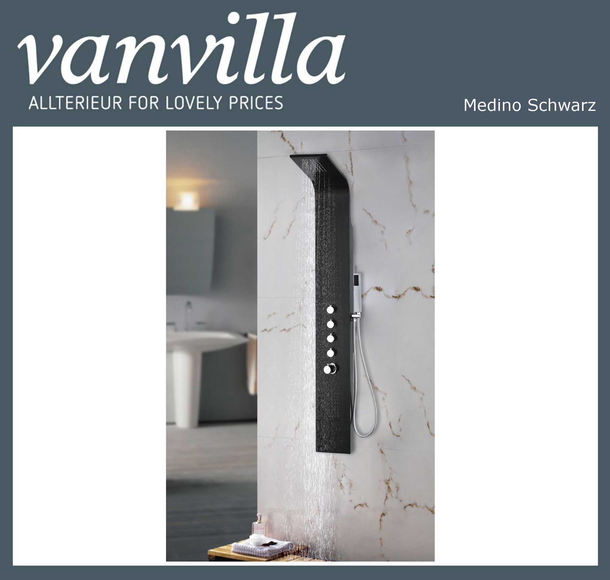 Design Alu Duschpaneel Medino XL,Thermostat, Mattschwarz, Brausepaneel