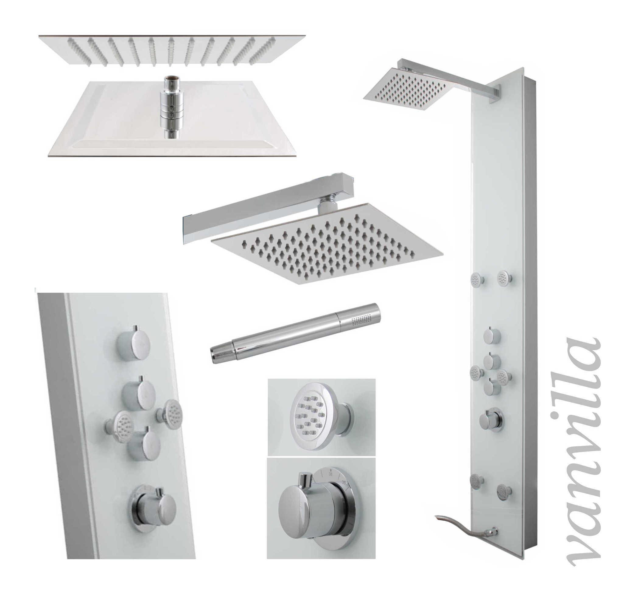 duschpaneel thermostat glas duschs ule brausepaneel regendusche duscharmatur ebay. Black Bedroom Furniture Sets. Home Design Ideas