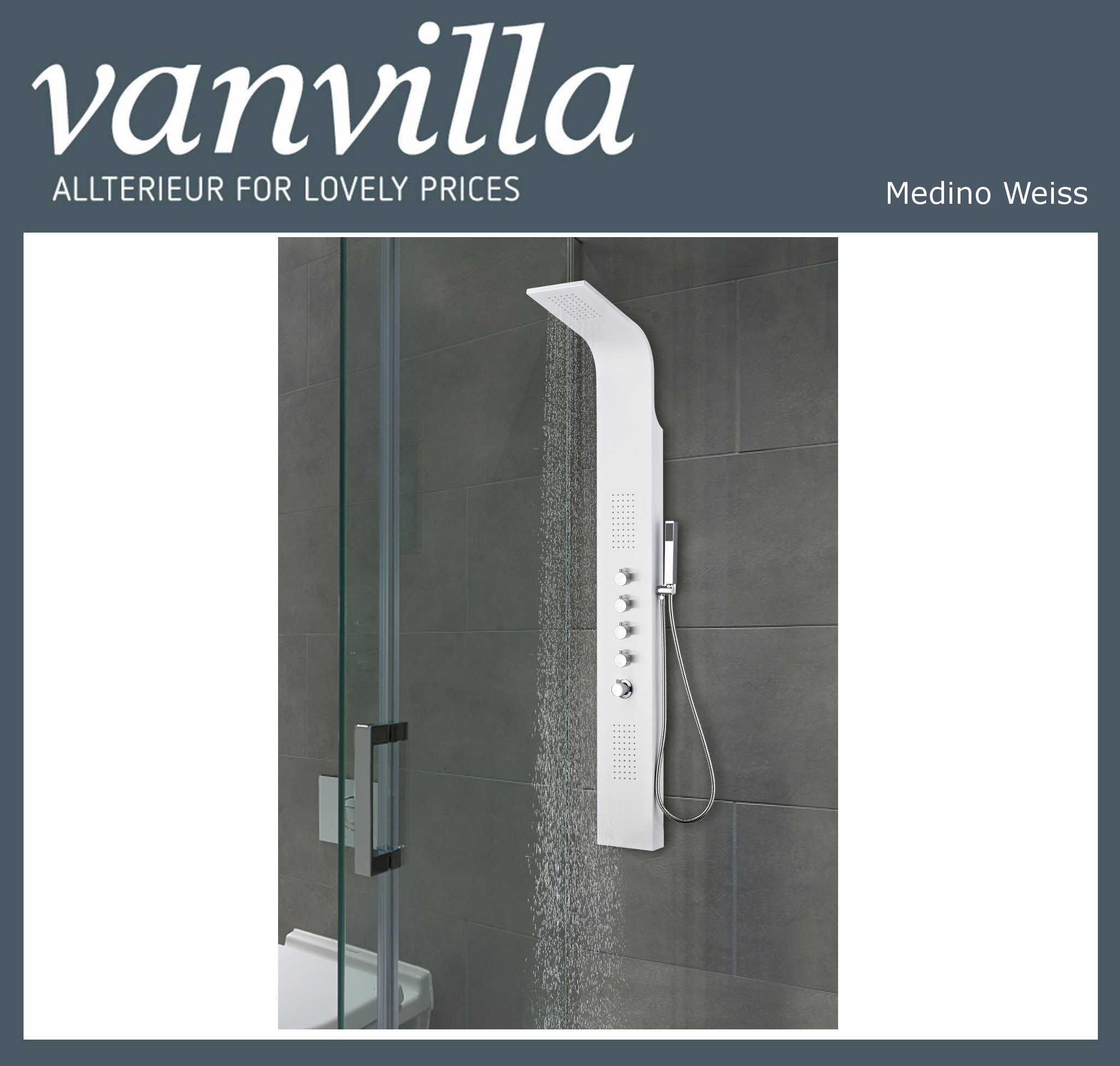 Duschpaneel Modell MEDINO Weiß 2302, Thermostat