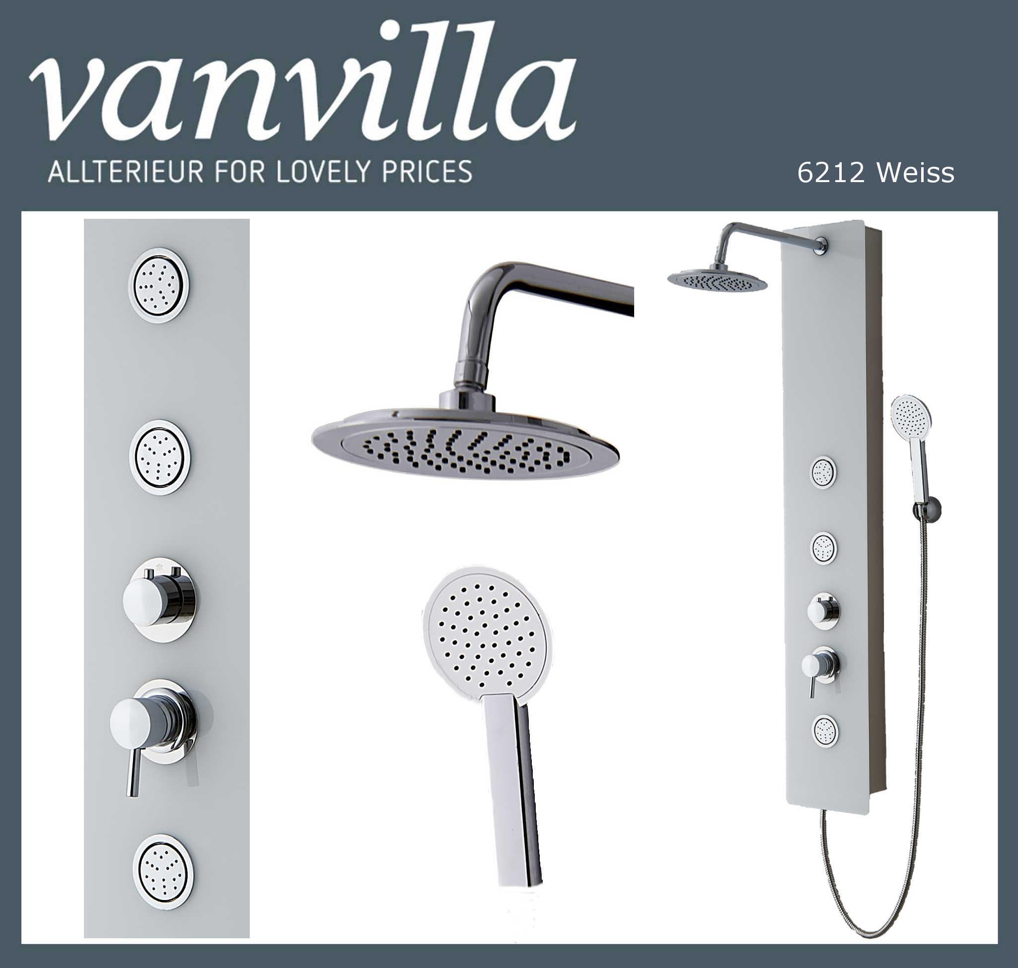 vanvilla glas duschpaneel levant 6212w einhebelmischer weiss. Black Bedroom Furniture Sets. Home Design Ideas