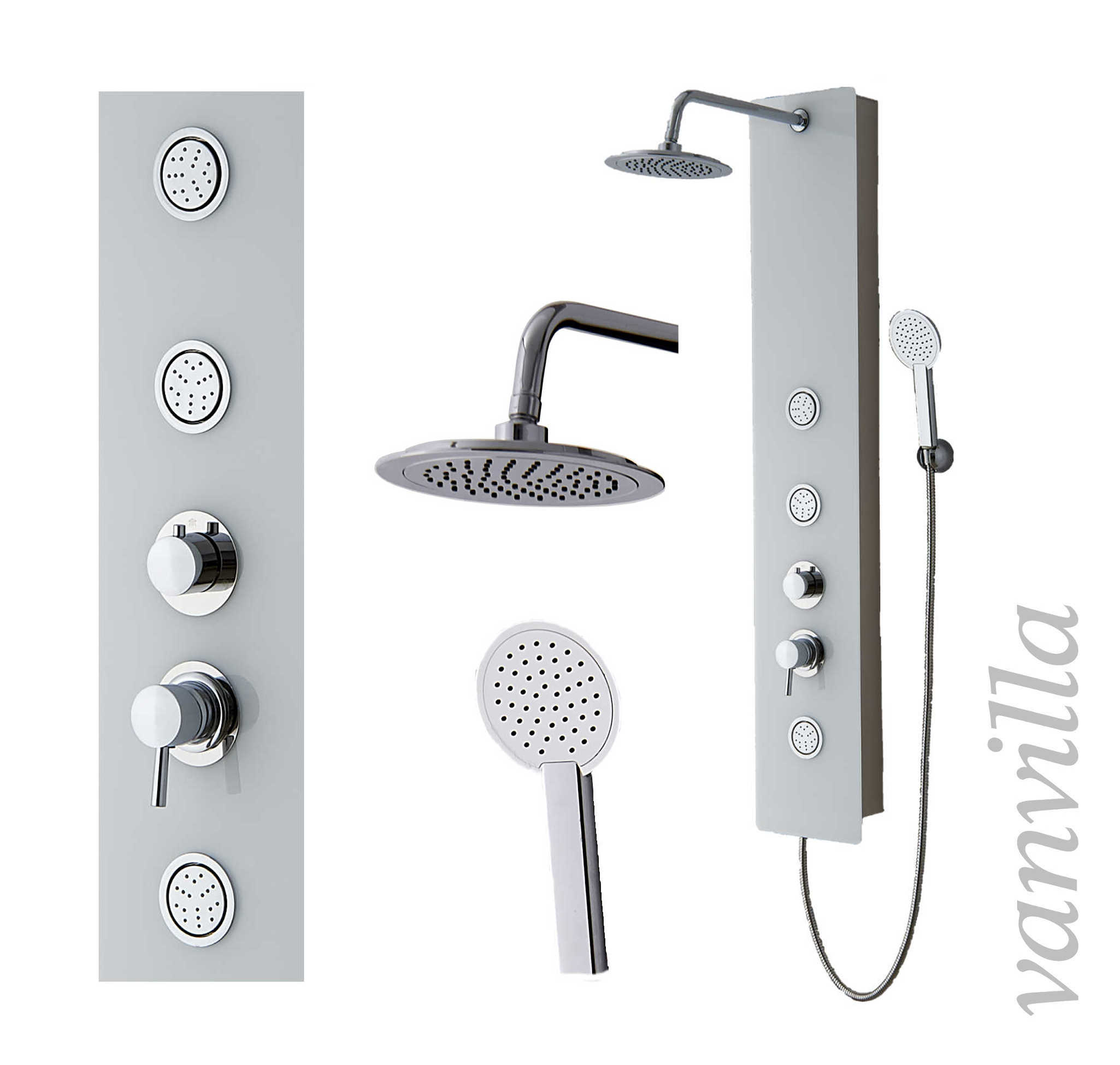 duschpaneel glas einhebel duschs ule brausepaneel regendusche duscharmatur ebay. Black Bedroom Furniture Sets. Home Design Ideas