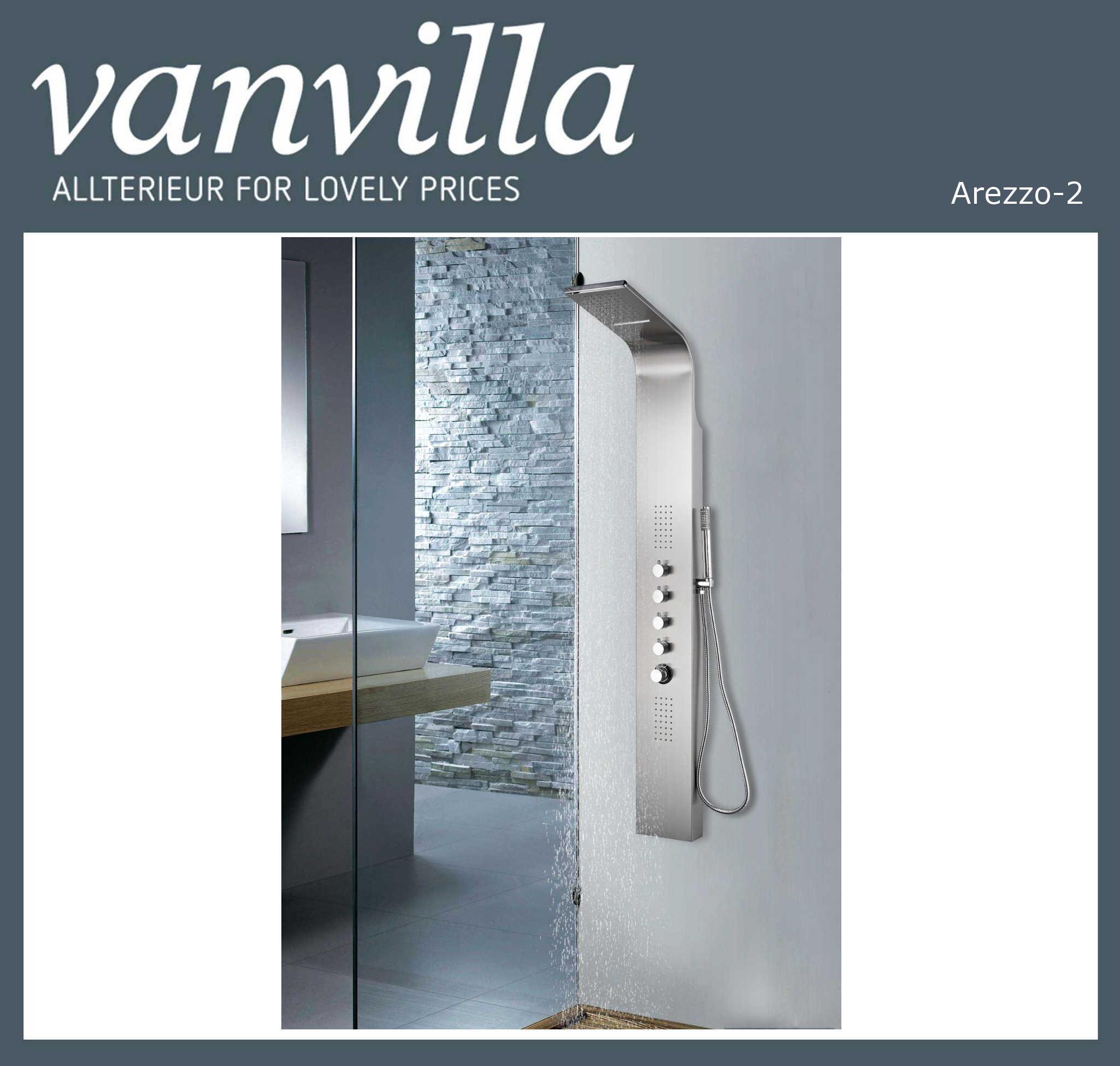 vanvilla Duschpaneel Arezzo-2 Edelstahl Thermostat Schwall- u. Regenbrause