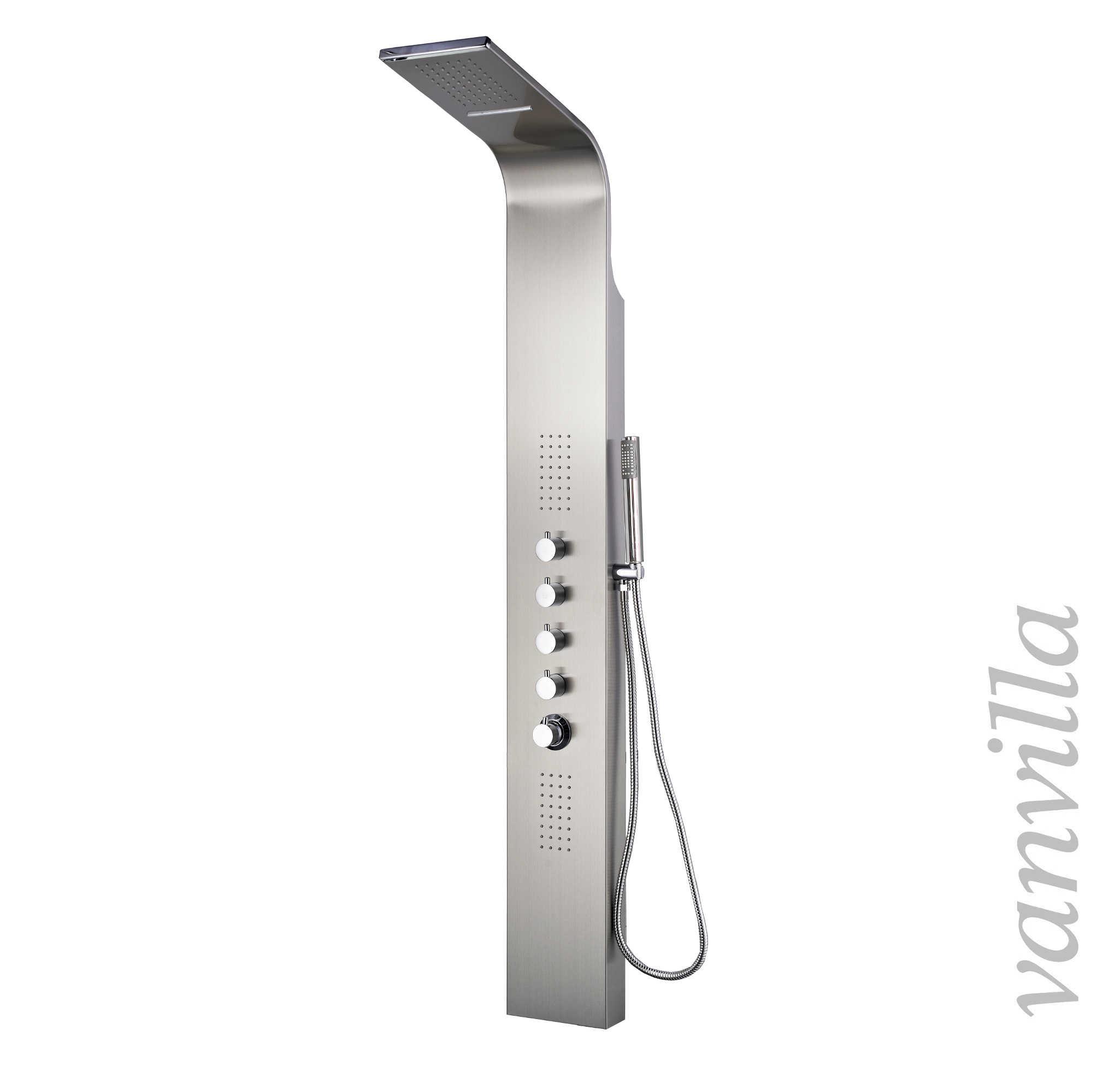 vanvilla glas duschpaneel brausepaneel einhebelmischer schwarz 6212b bware ebay. Black Bedroom Furniture Sets. Home Design Ideas