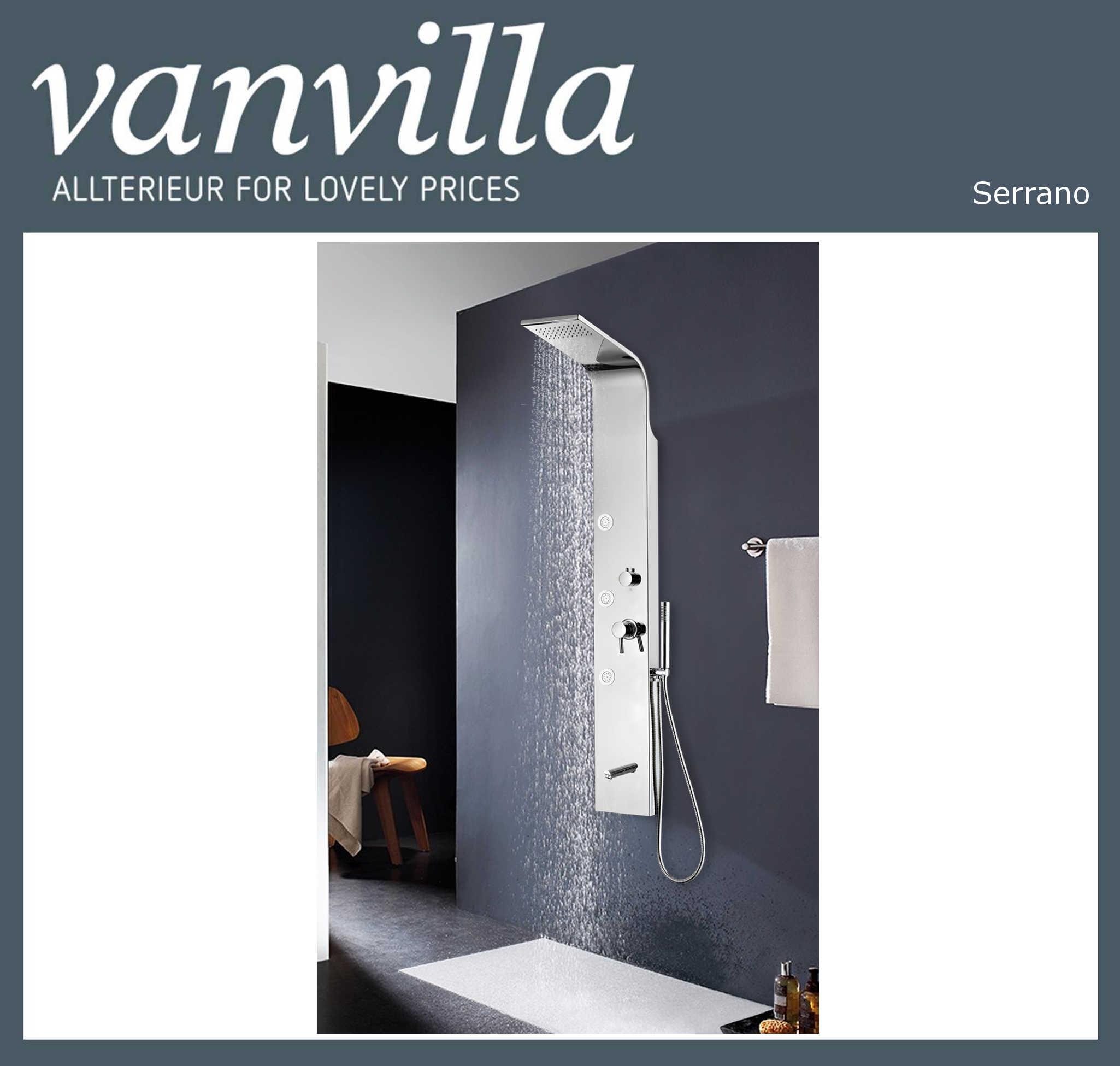 vanvilla Design Duschpaneel Edelstahl Brausepaneel Serrano