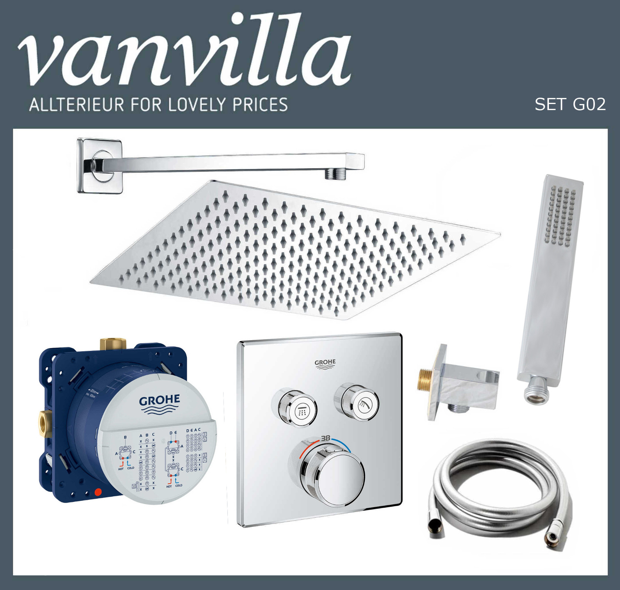 SET G02 UP vanvilla mit Duscharmatur Grohe SmartControl
