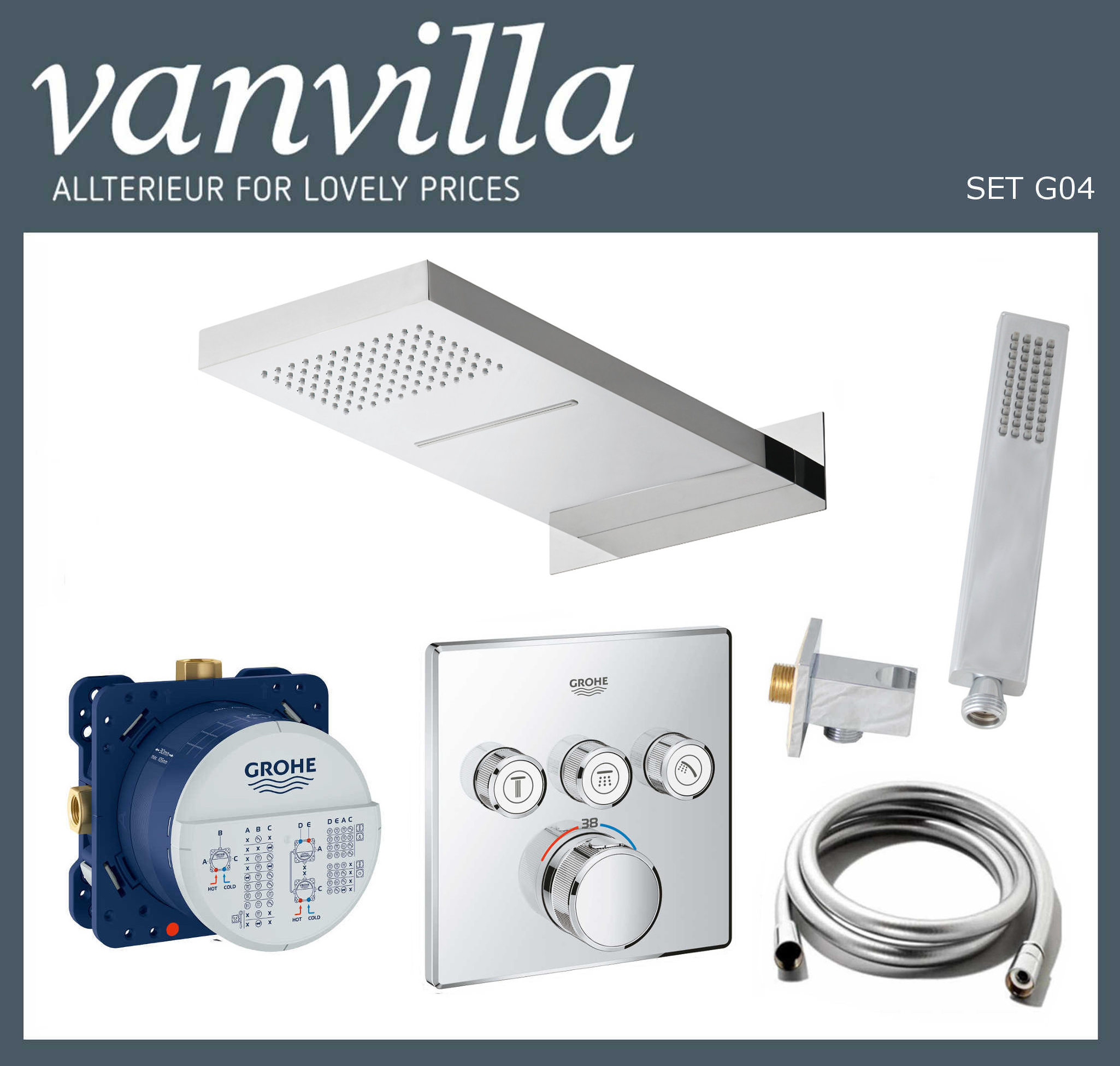 SET G04 UP vanvilla mit Duscharmatur Grohe SmartControl