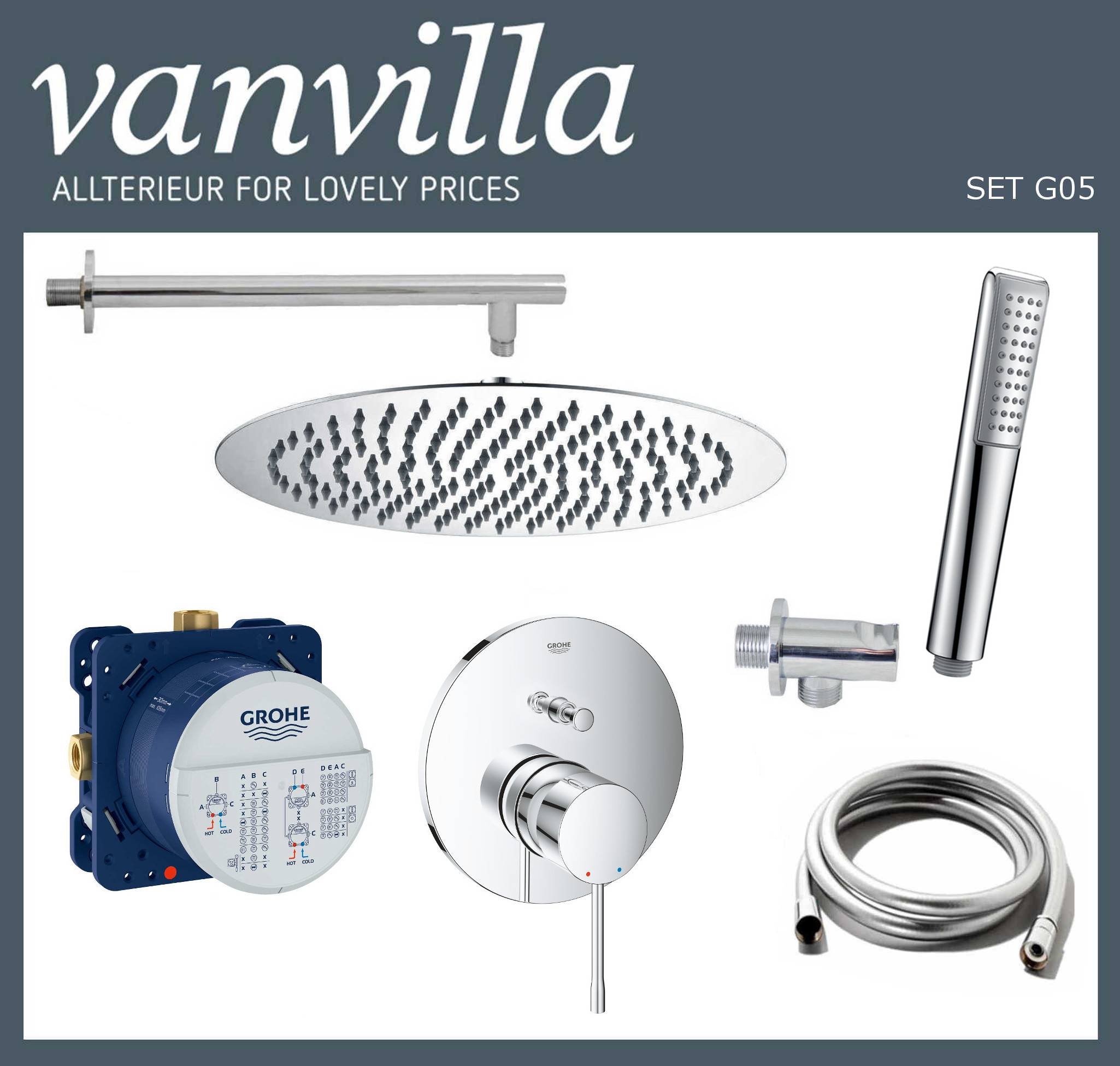 SET G05 UP vanvilla mit Duscharmatur Grohe Essence Mischer
