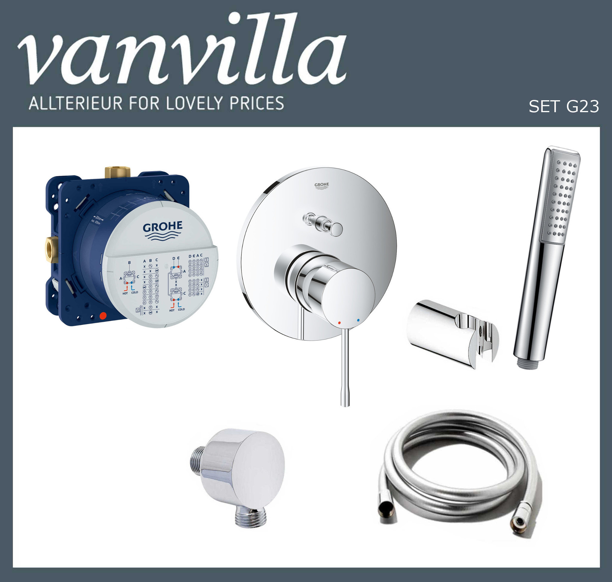 SET G23 UP vanvilla mit Wannenarmatur Grohe Essence