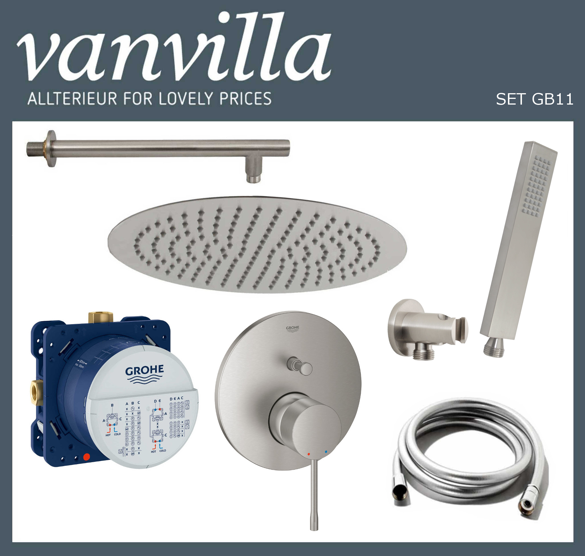SET GB11 UP vanvilla mit Duscharmatur Grohe Essence Supersteel