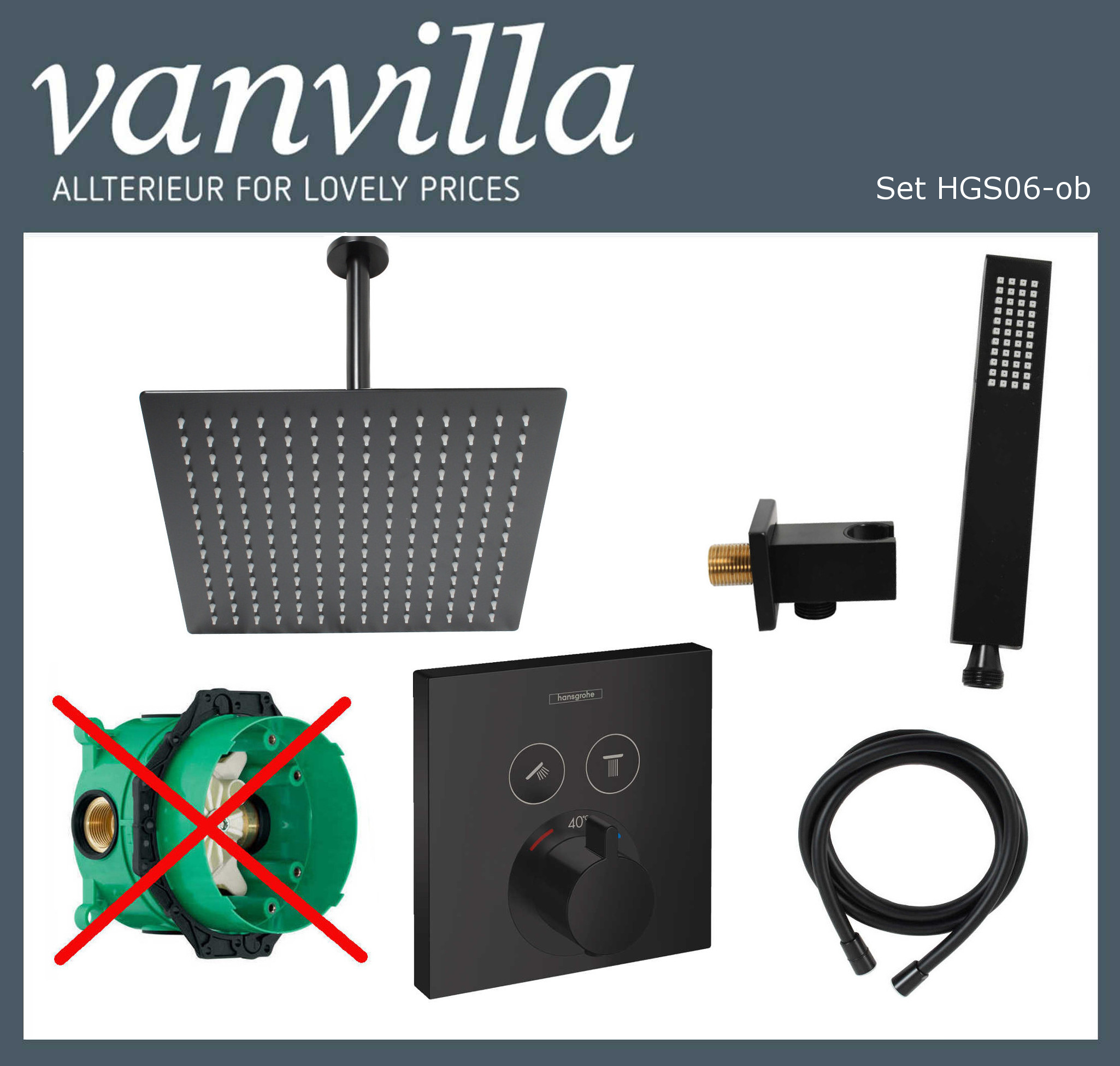 SET HGS06-ob UP vanvilla mit Duscharmatur Hansgrohe ShowerSelect Schwarz