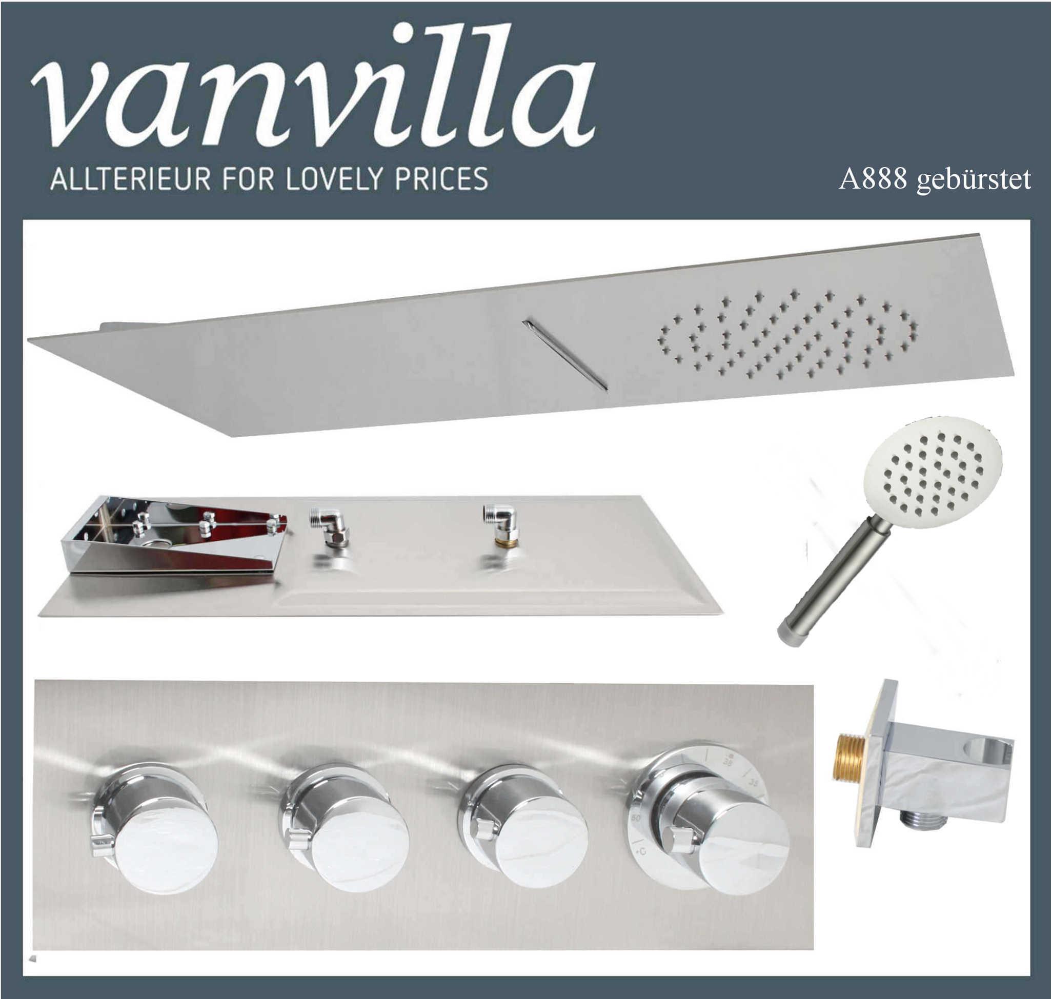 vanvilla unterputz thermostat set duscharmatur schwallbrause regendusche 888 ebay. Black Bedroom Furniture Sets. Home Design Ideas