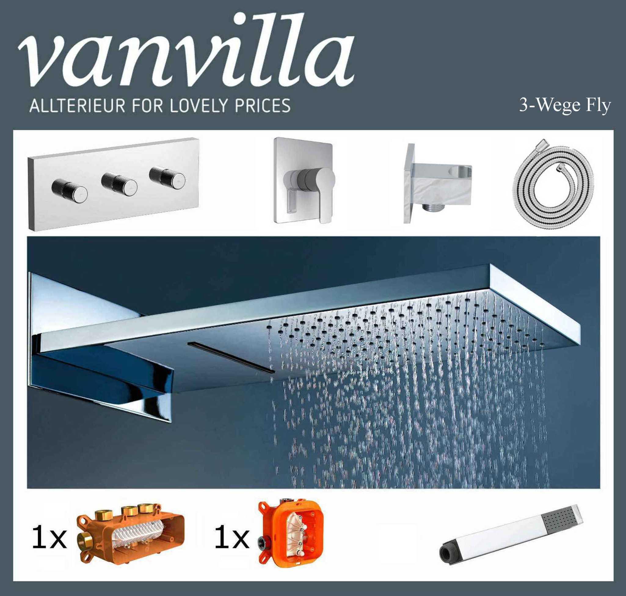 vanvilla unterputz duscharmatur set schwallbrause regendusche regenbrause ebay. Black Bedroom Furniture Sets. Home Design Ideas