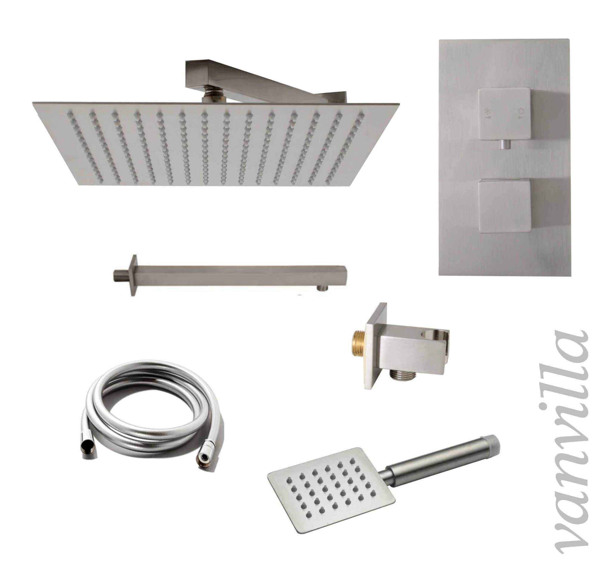 dusch set edelstahl geb rstet duschkopf duscharm 2 wege thermostat regendusche ebay. Black Bedroom Furniture Sets. Home Design Ideas