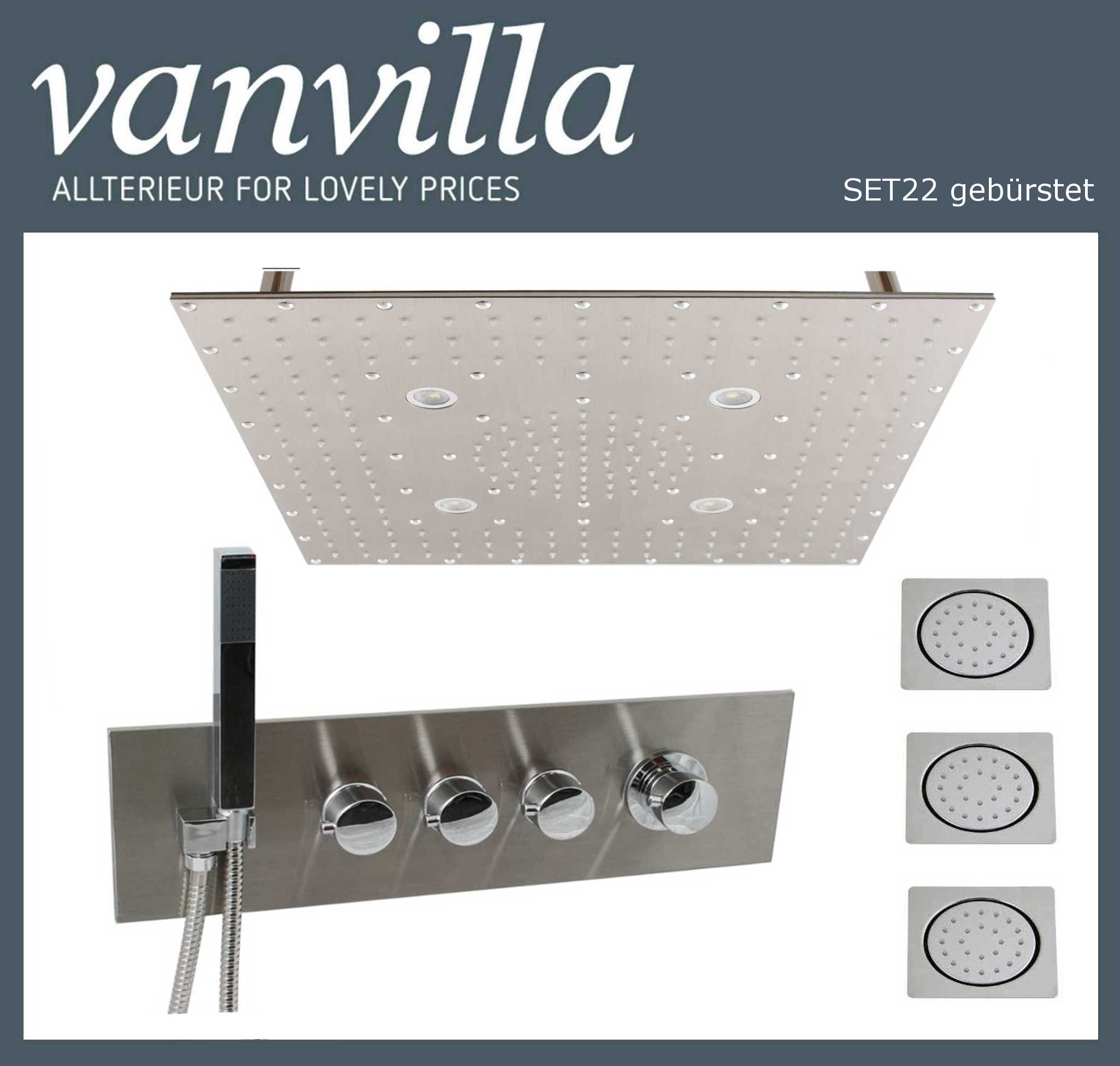 SET22 UP brushed / 50x50cm LED / 3Wege 2104 brushed Seitenbrause