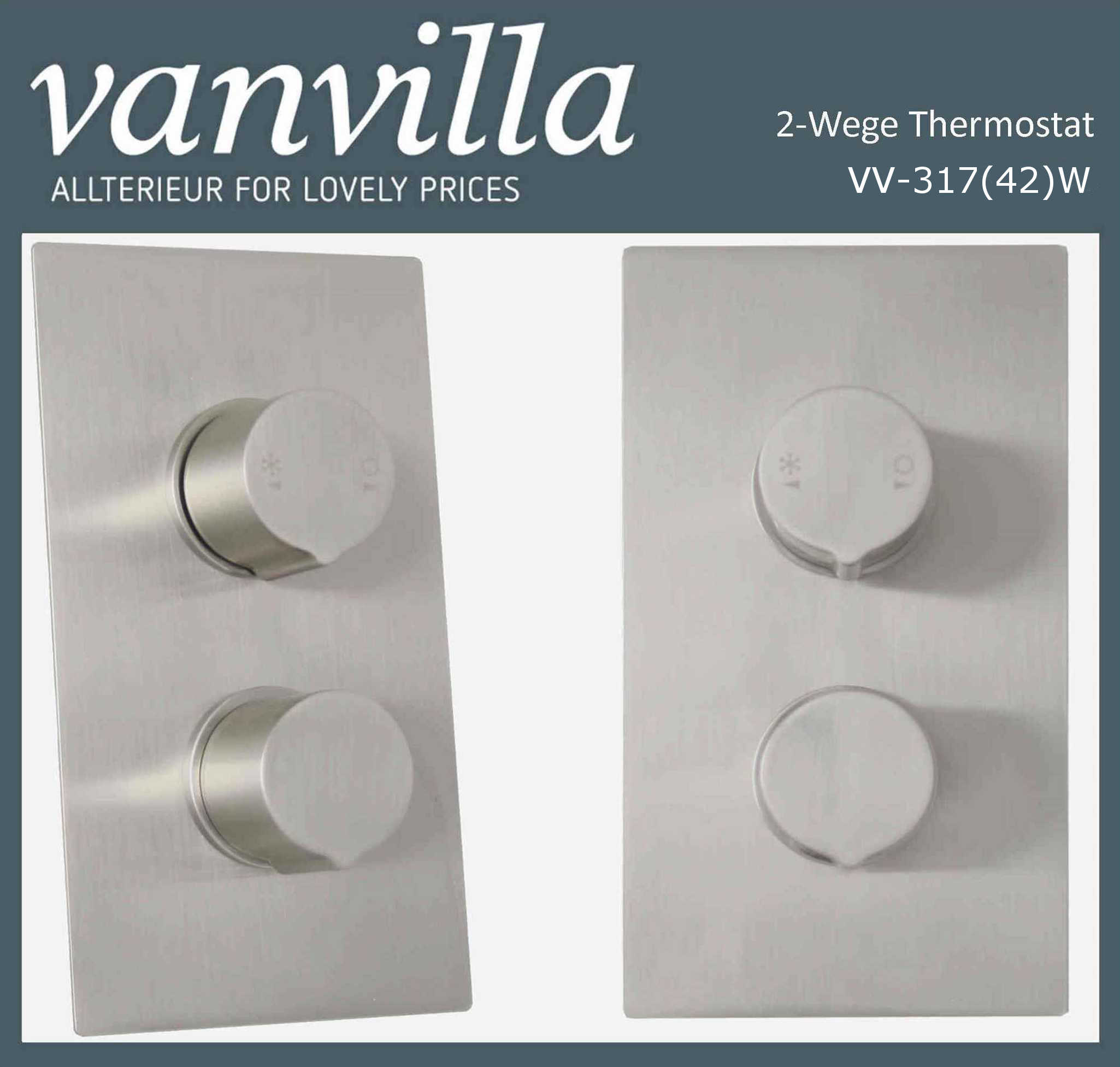 Unterputzarmatur 2-Wege SL0317(42), Thermostat, brushed