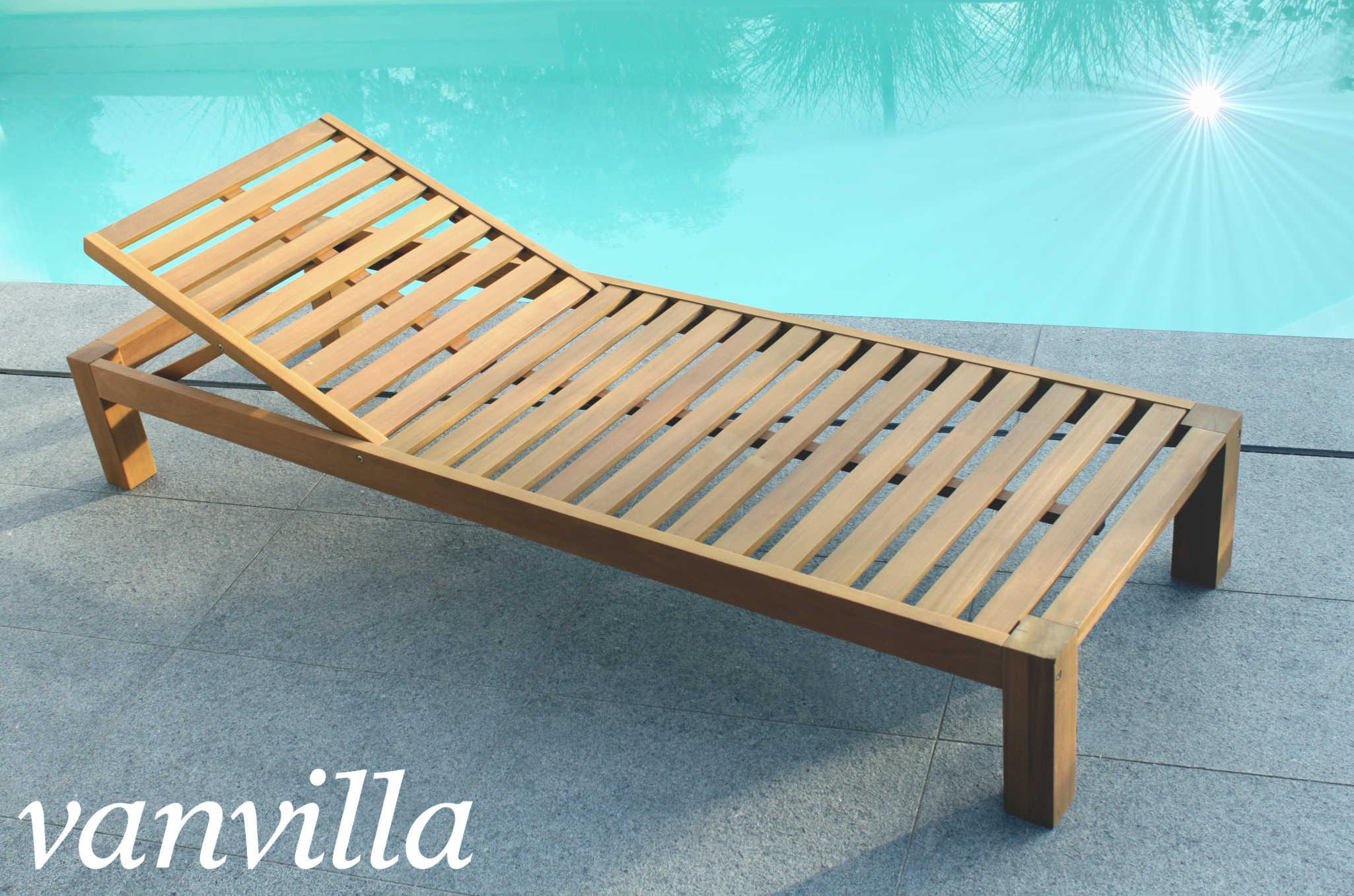 Gartenliege holz mit auflage  vanvilla Sonnenliege Gartenliege Holz Relaxliege BALIMO OHNE Auflage