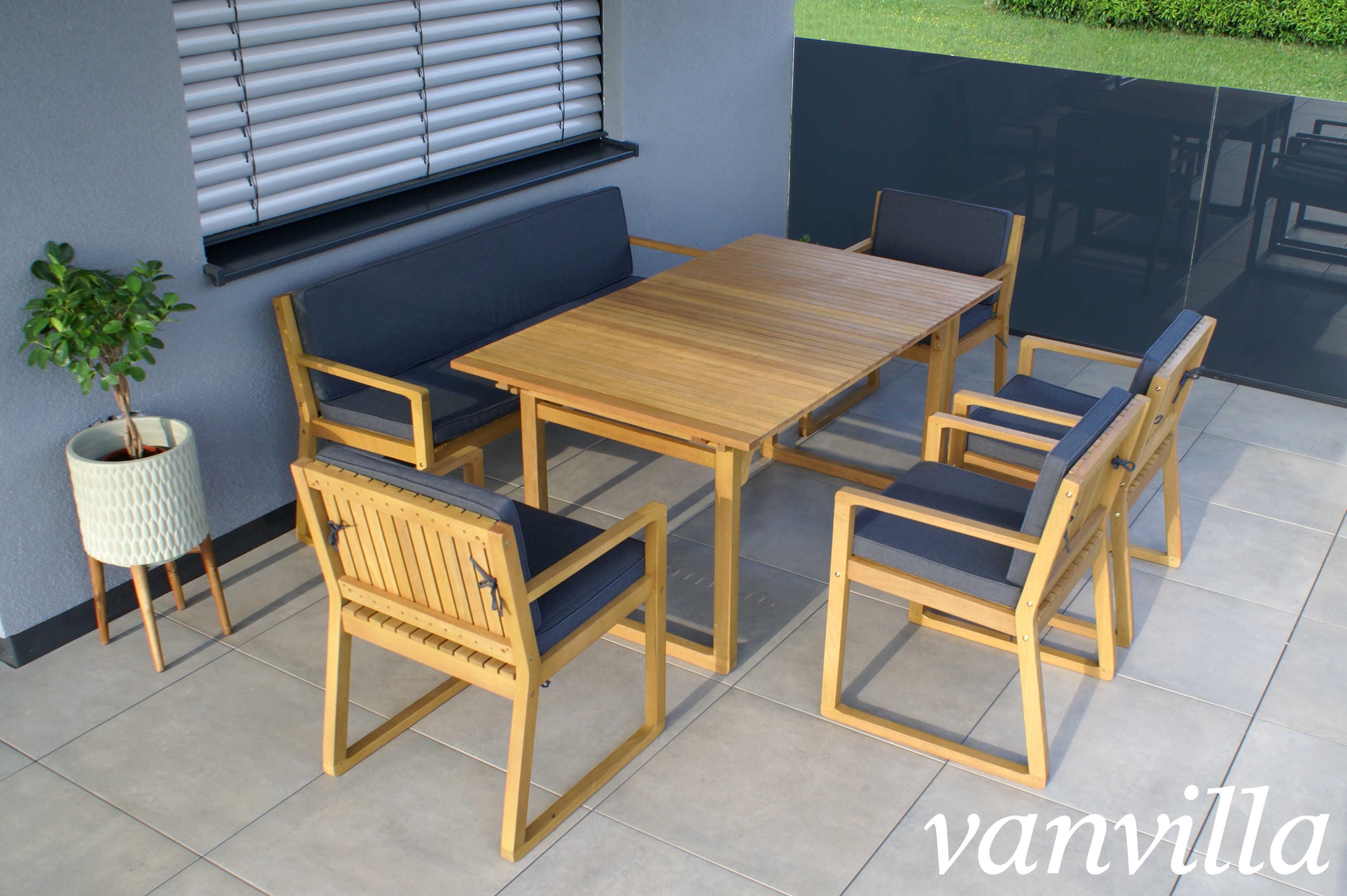 Gut gemocht vanvilla Gartenmöbel Set Holz 1 Tisch 1 Bank 4 Sessel SET1 Auflage YI06