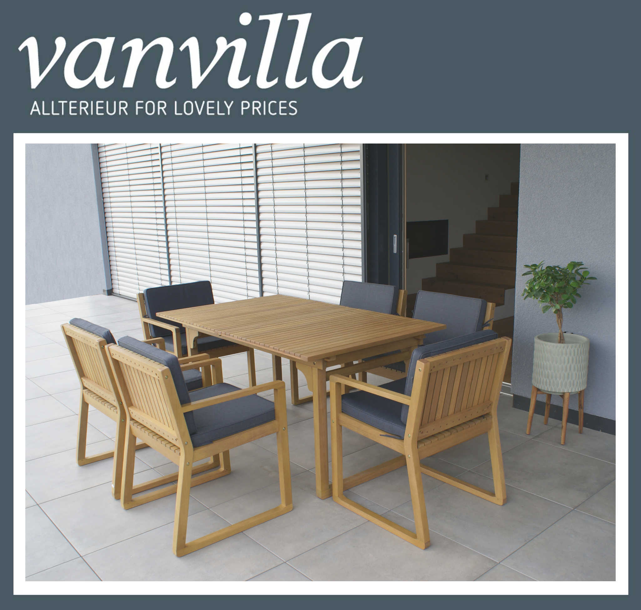 vanvilla gartenm bel set holz 1 tisch 6 sessel set4 auflage grau. Black Bedroom Furniture Sets. Home Design Ideas