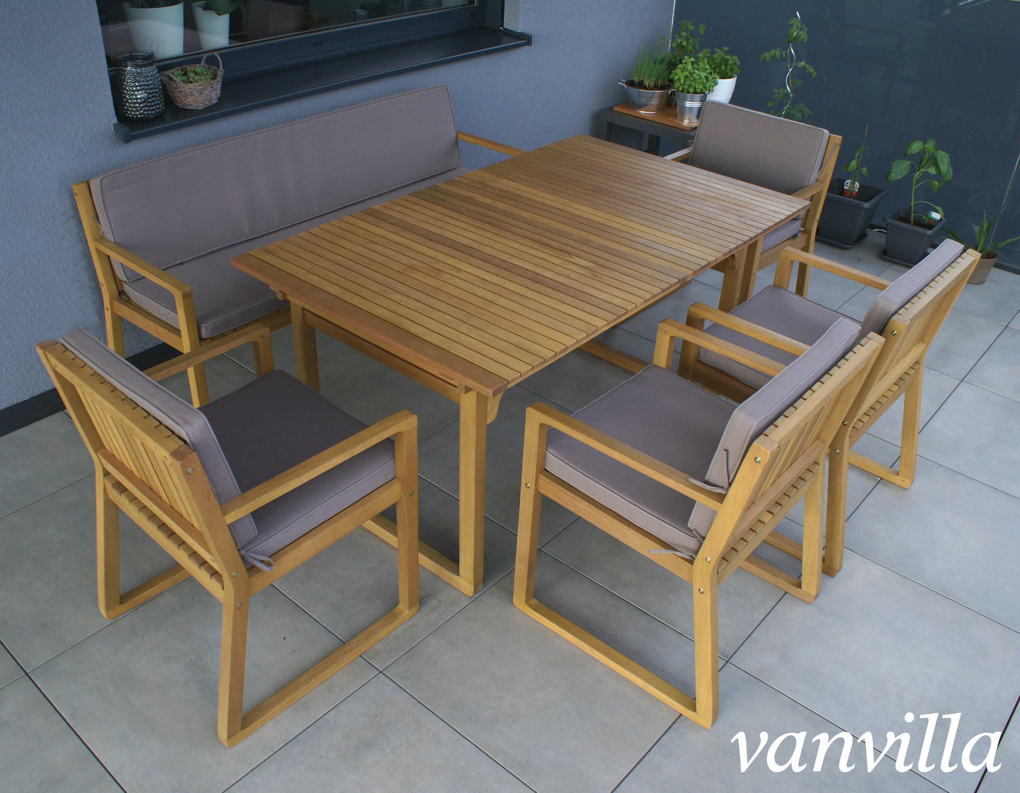 Super vanvilla Gartenmöbel Set Holz 1 Tisch 1 Bank 4 Sessel SET5 Auflage QS62