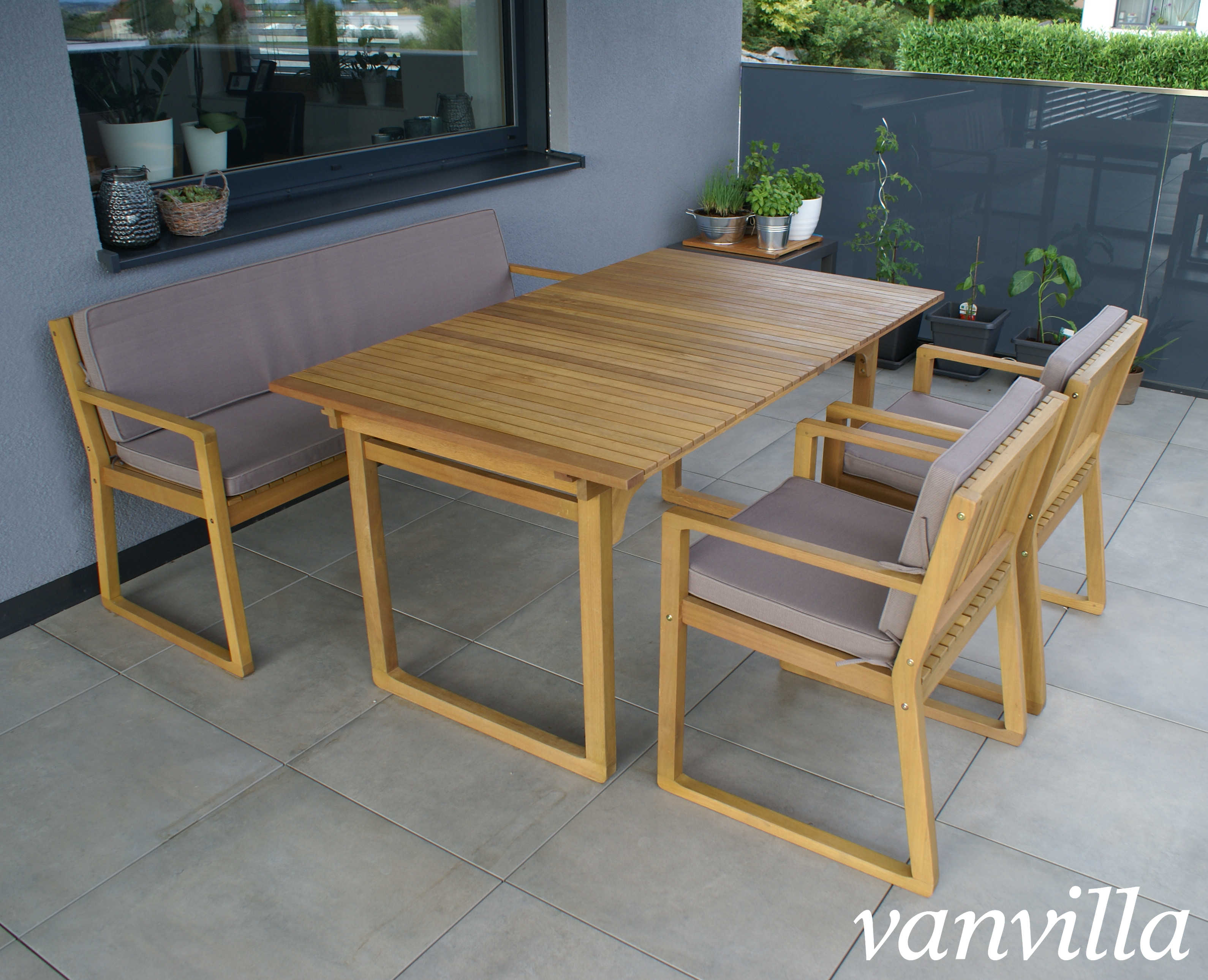 vanvilla gartenm bel set holz 1 tisch 1 bank 2 sessel set6 auflage braun. Black Bedroom Furniture Sets. Home Design Ideas