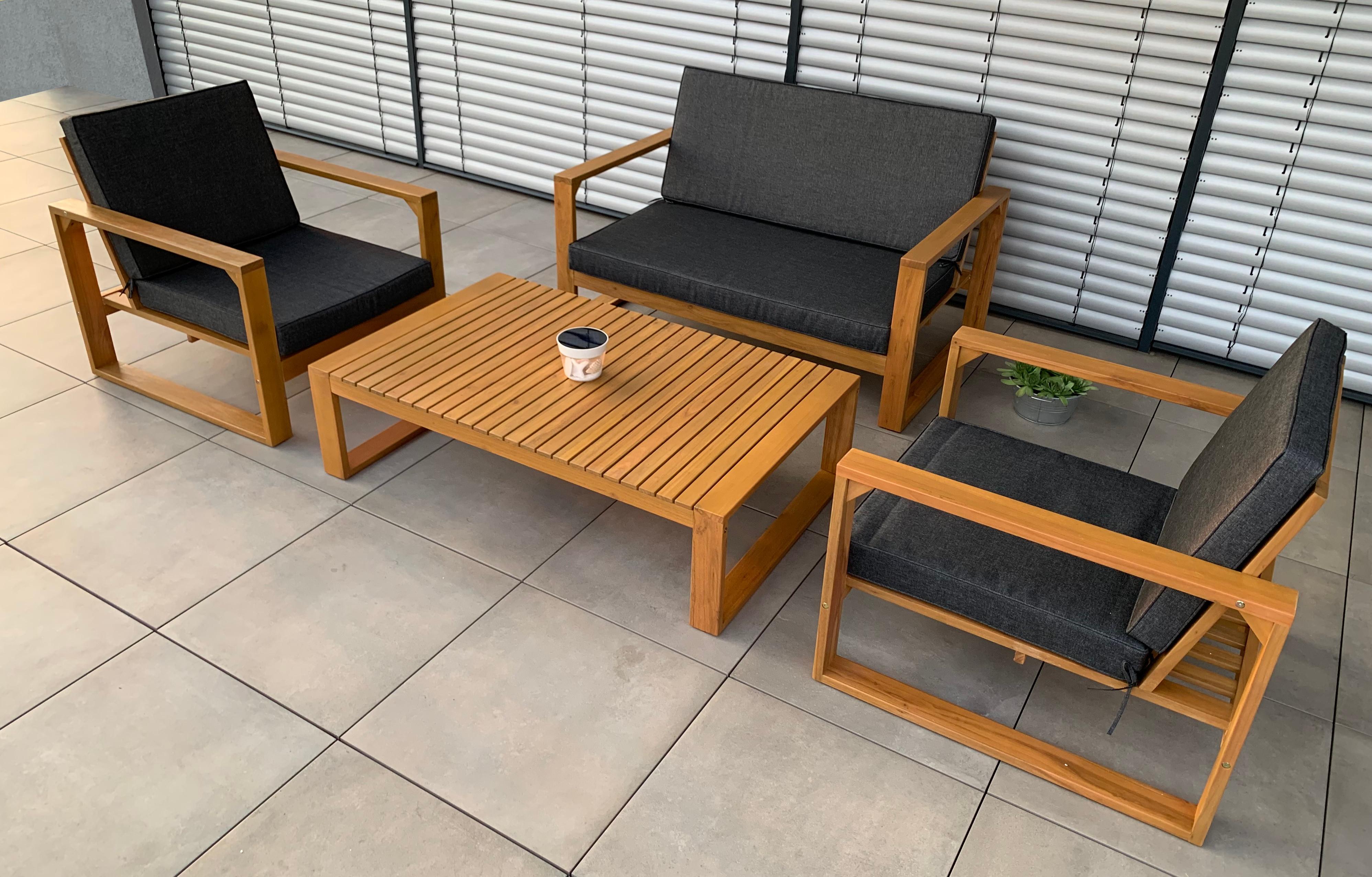 Details Zu Vanvilla Gartenmobel Lounge Set Luxambour 1 Tisch 1 Bank 2 Sessel Auflage Grau