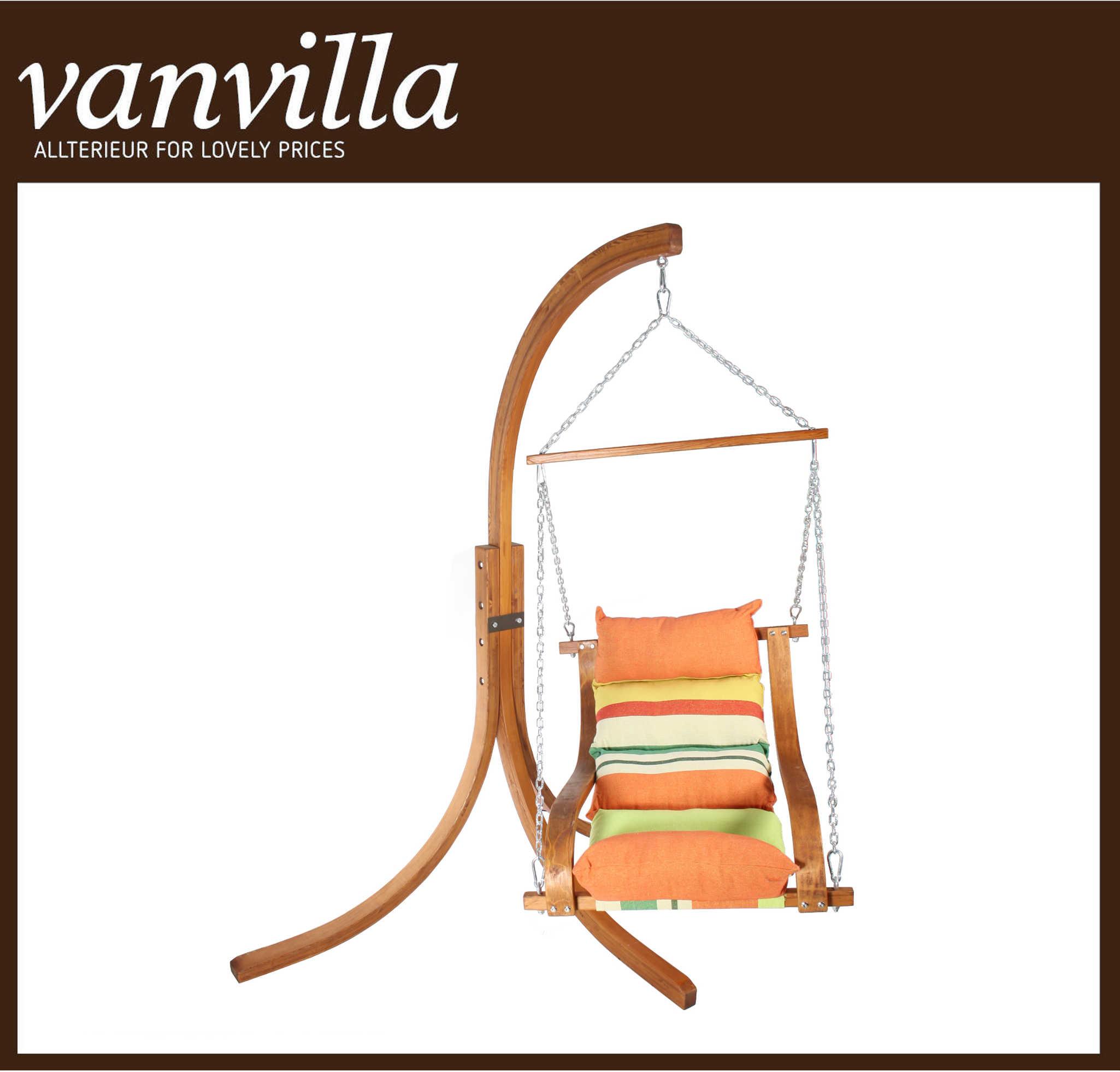 vanvilla Hängesessel Molino mit Gestell Teak Sitzauflage Orange gestreift