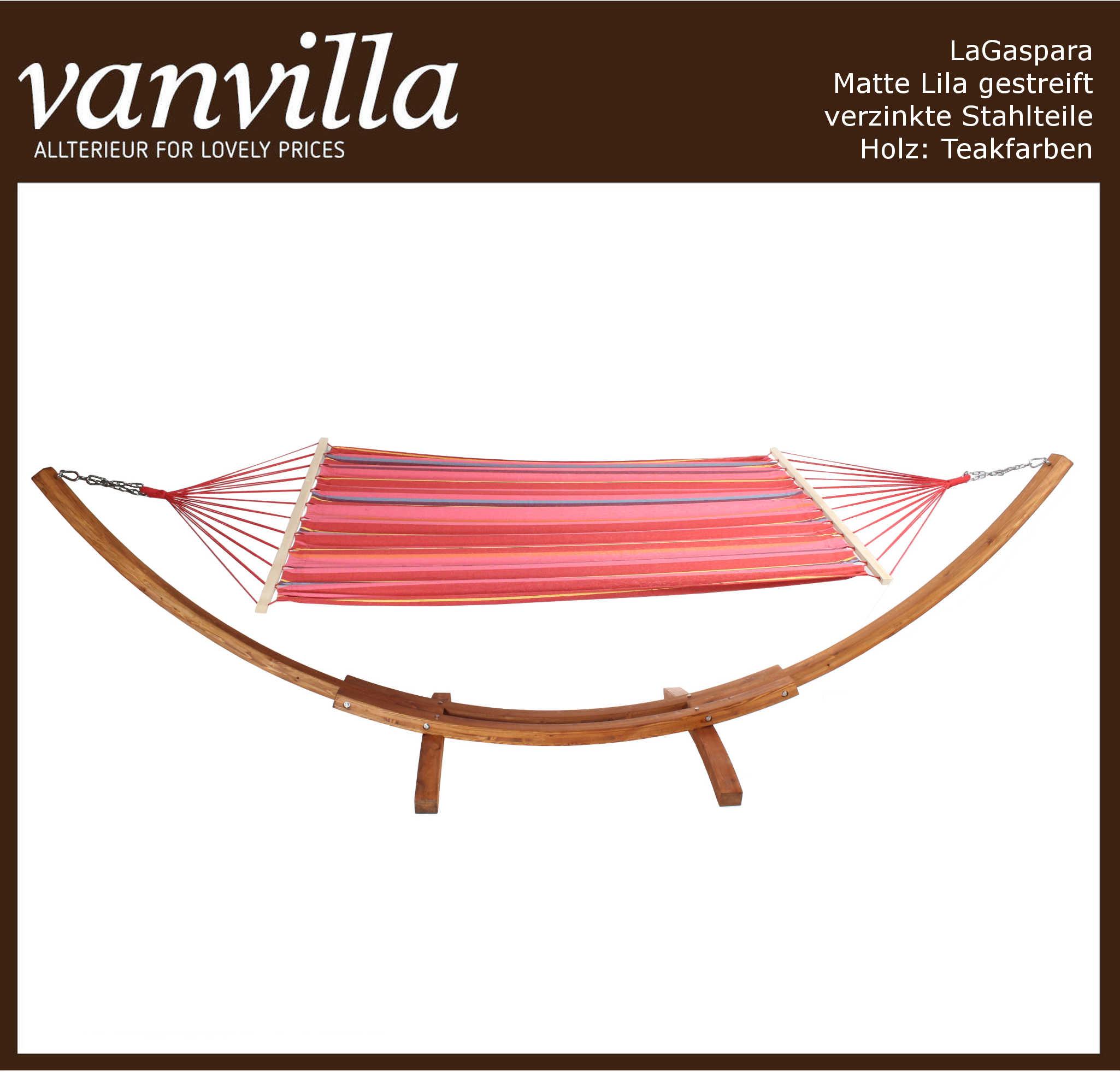 Hängemattengestell LaGaspara Matte Lila gestreift Holz teakfarben 2 Karton