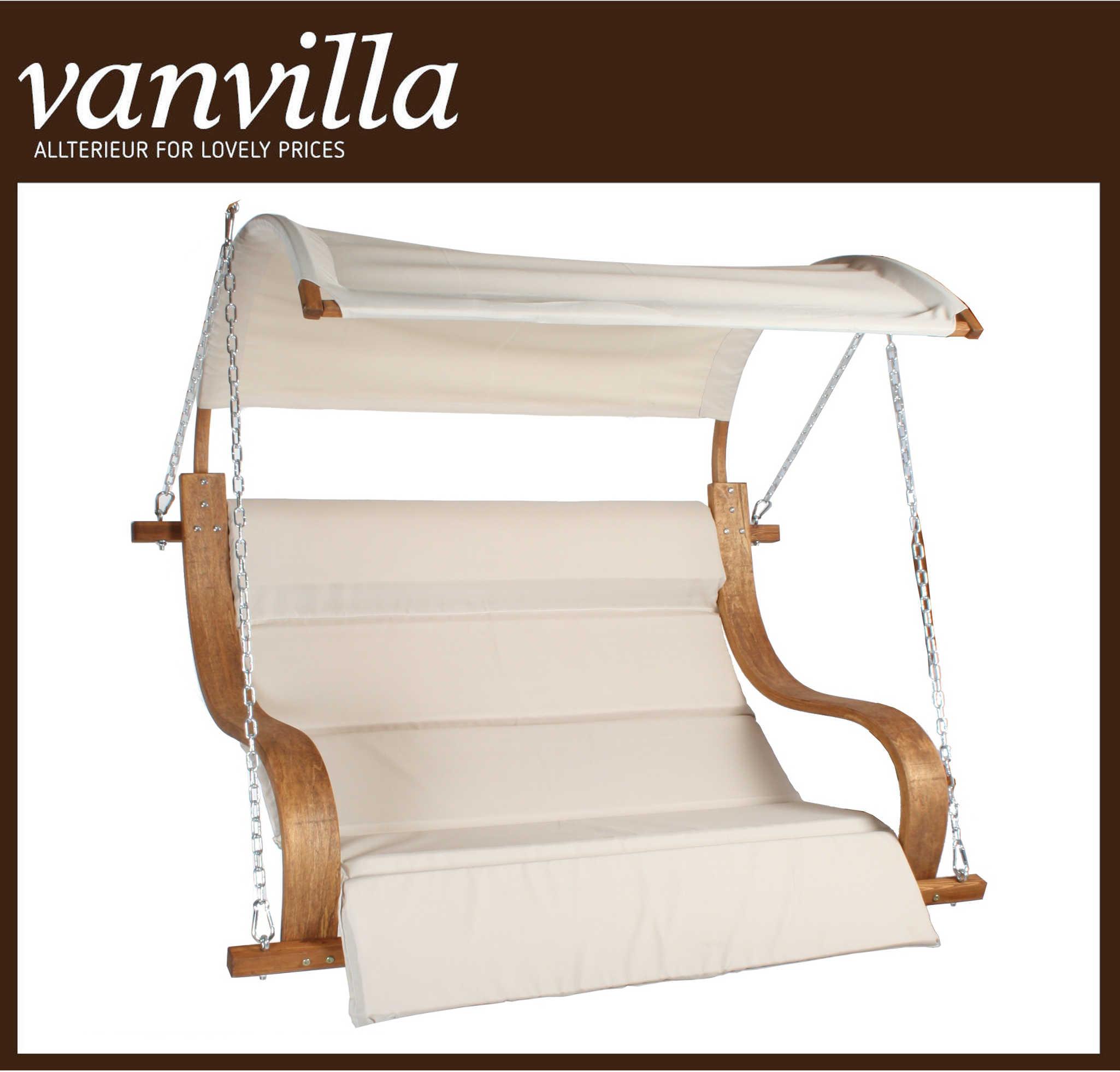 vanvilla Sessel für Hollywoodschaukel Albarella, Farbe TEAKFARBEN, Stoff Khaki