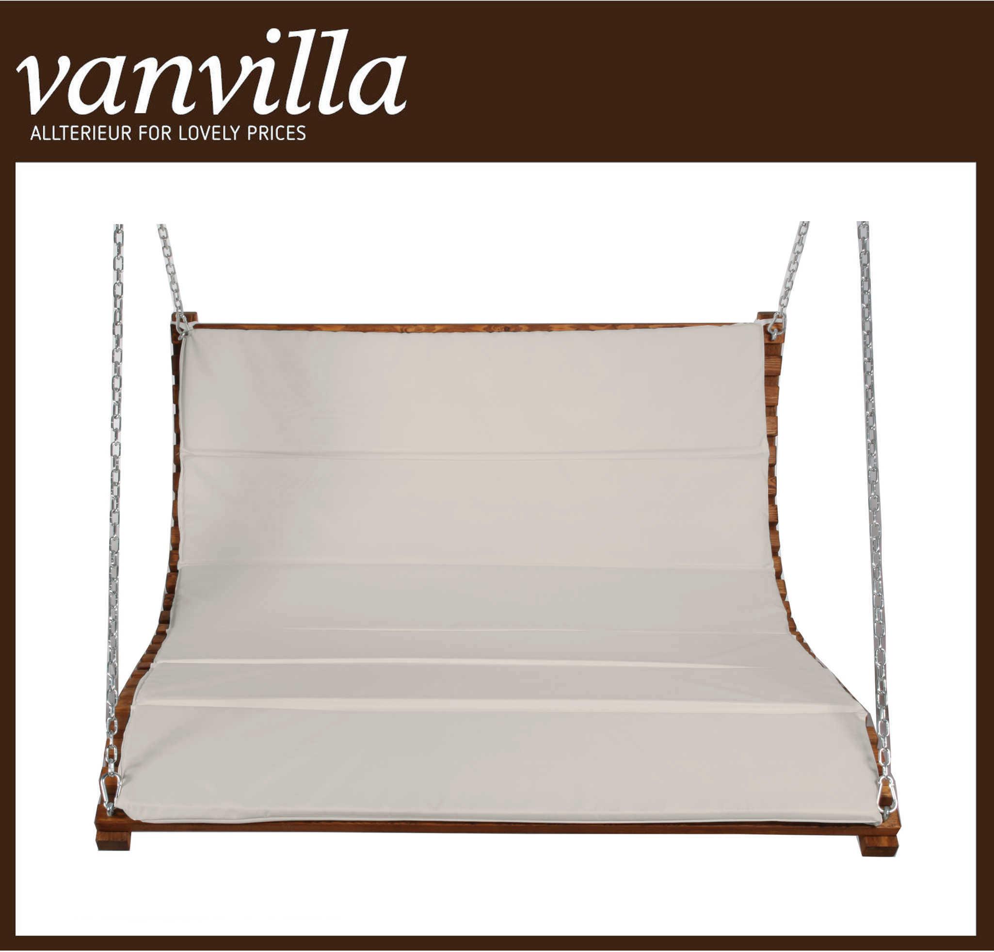 vanvilla Sessel für Hollywoodschaukel Albarella Duo Farbe teakfarben Stoff khaki