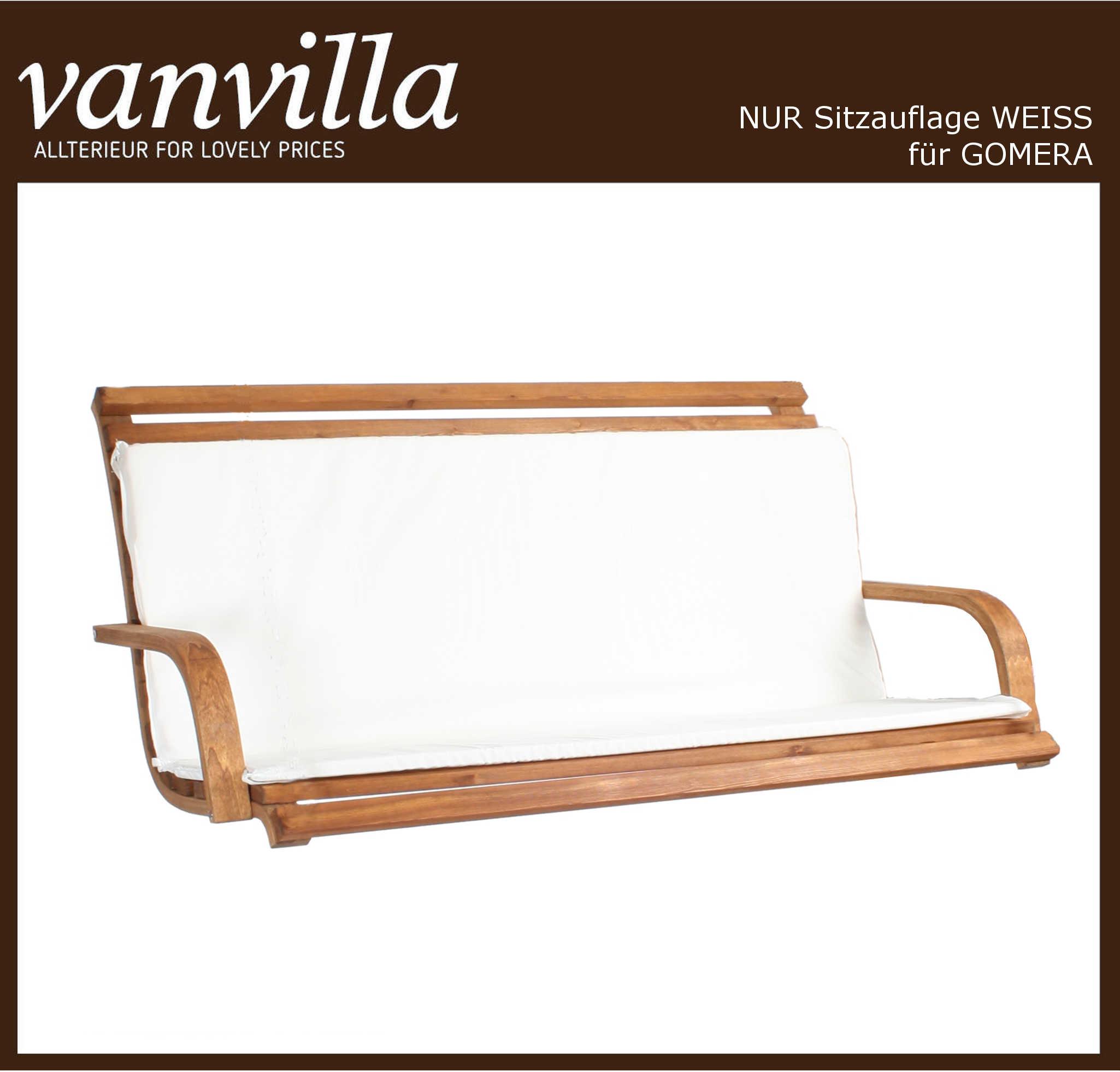 vanvilla Polsterauflage für Hollywoodschaukel Modell Gomera, Stofffarbe weiß