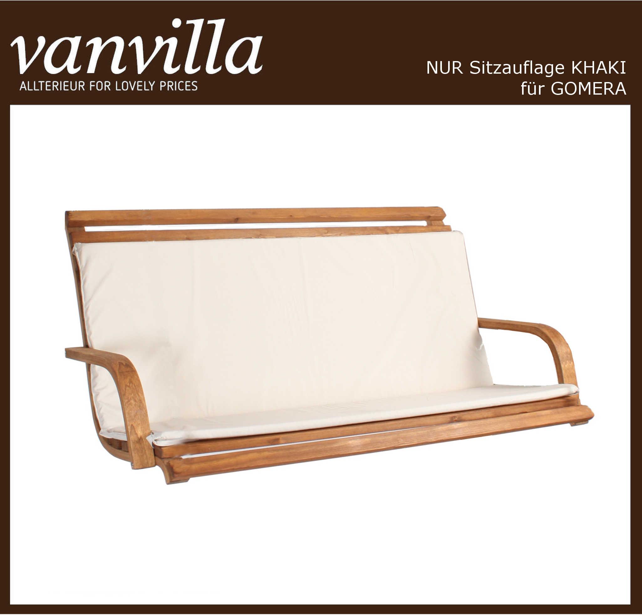 vanvilla Polsterauflage für Hollywoodschaukel Modell Gomera, Stofffarbe Khaki