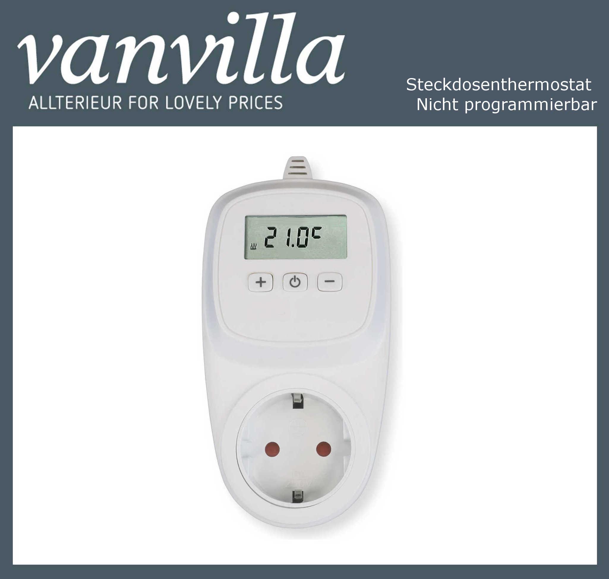 vanvilla Steckdosenthermostat nicht programmierbar, für Infrarotpaneel geeignet