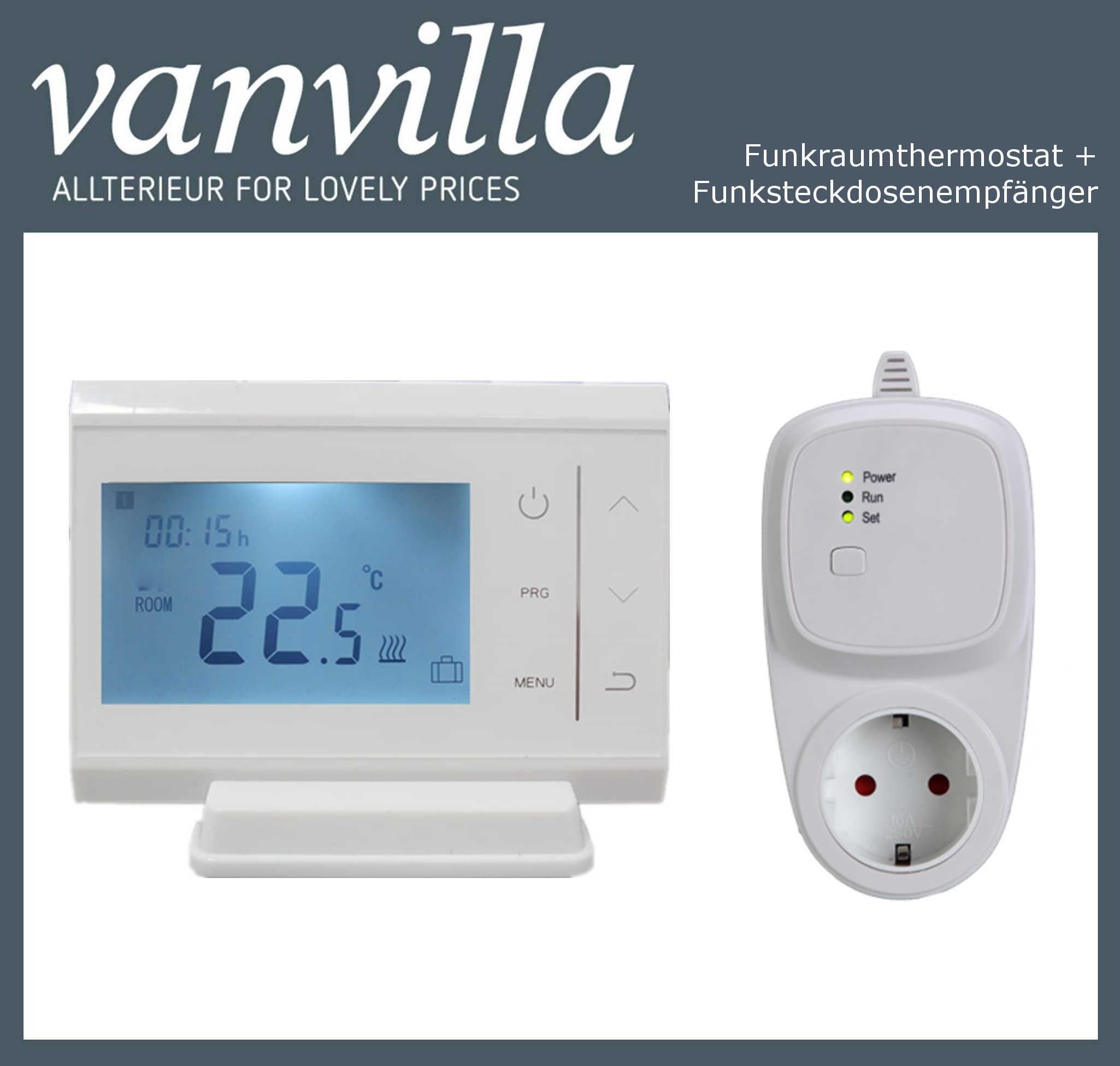 vanvilla Funkthermostat programmierbar für Infrarotpaneel mit Funksteckdose