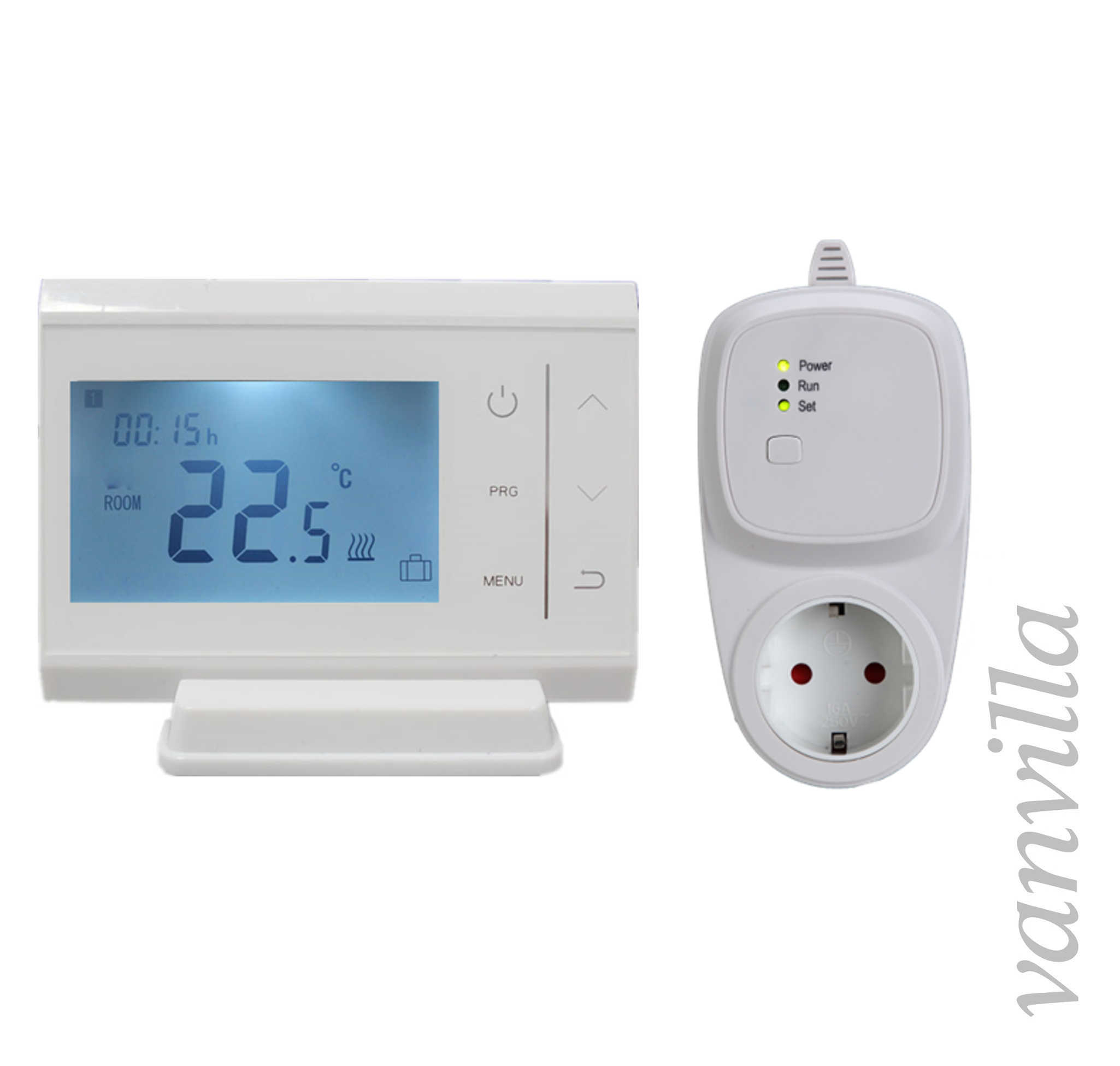 vanvilla digital funk raumthermostat thermostat programmierbar funksteckdose set ebay. Black Bedroom Furniture Sets. Home Design Ideas