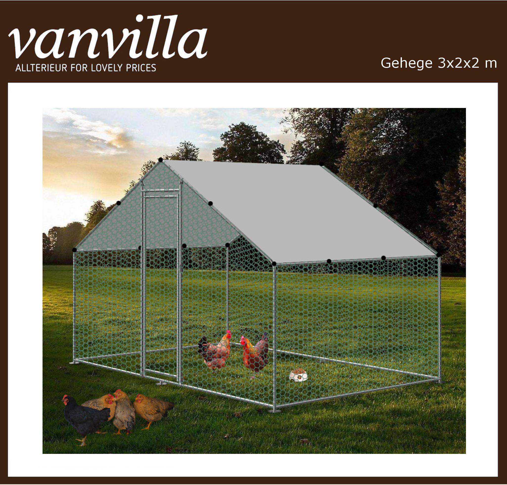 vanvilla Tiergehege Freilaufgehege Hühnerstall Stahlrahmen mit Drahtgewebe RA322
