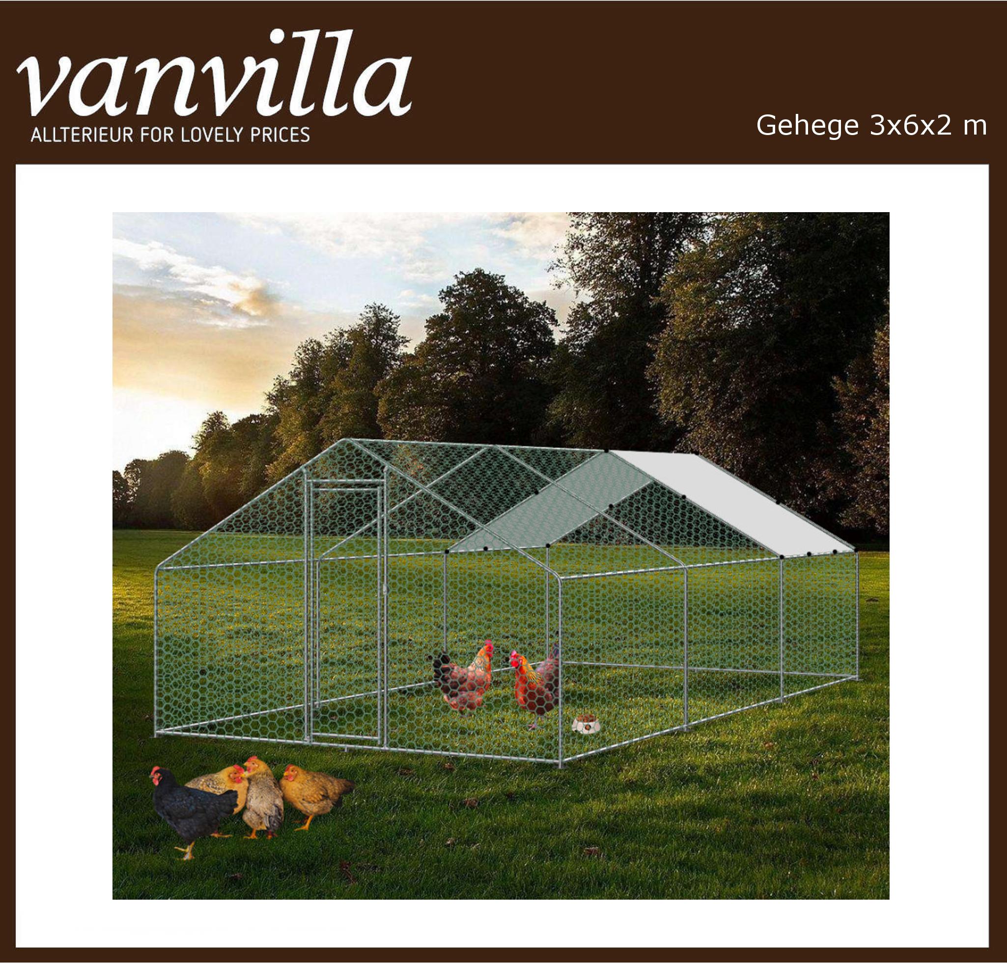 vanvilla Tiergehege Freilaufgehege Hühnerstall Stahlrahmen mit Drahtgewebe RA362