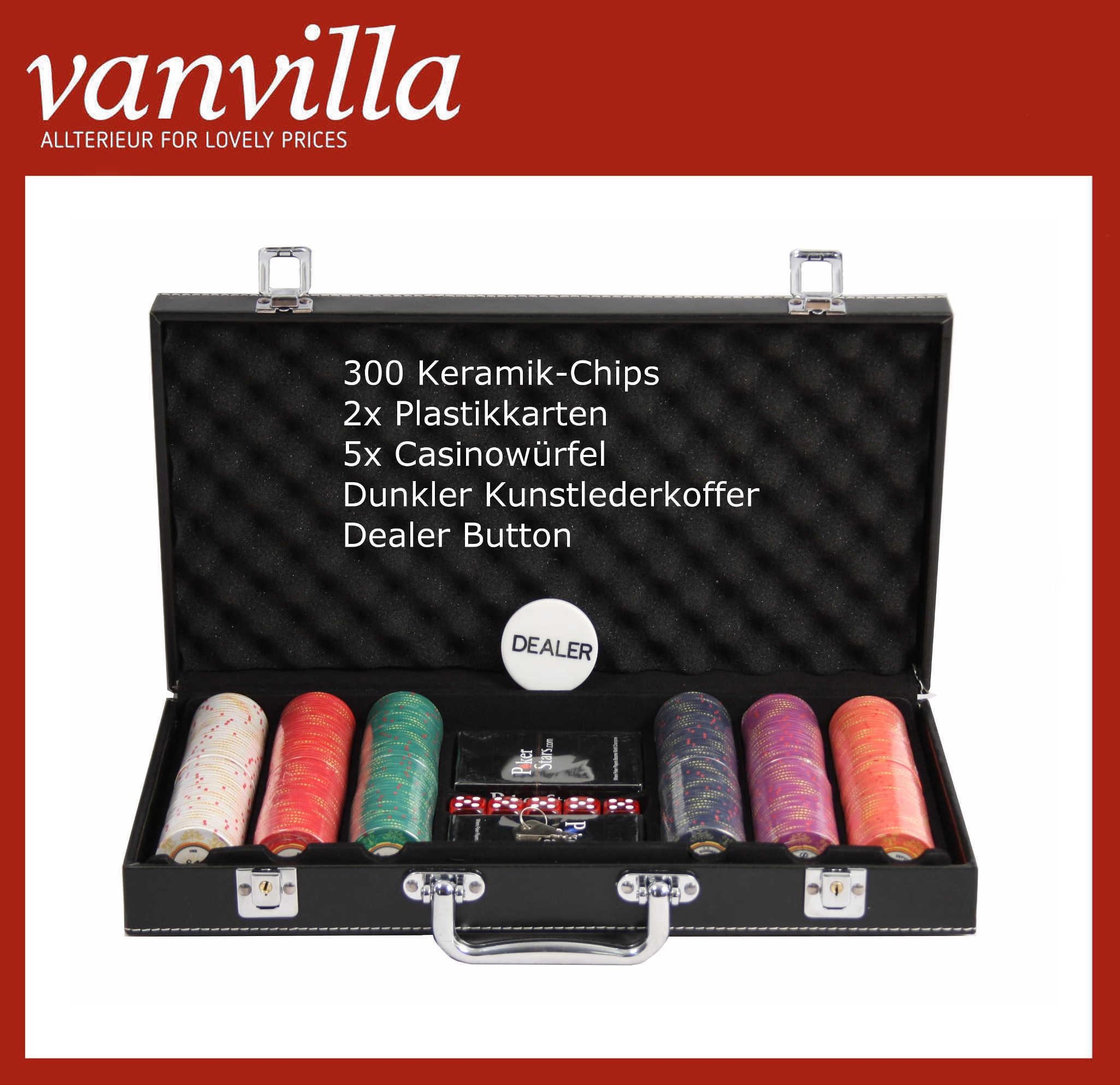 Pokerset 300 Keramik-Chips (10g) 2xPlastikkarten 5xCasinowürfel Kunstlederkoffer