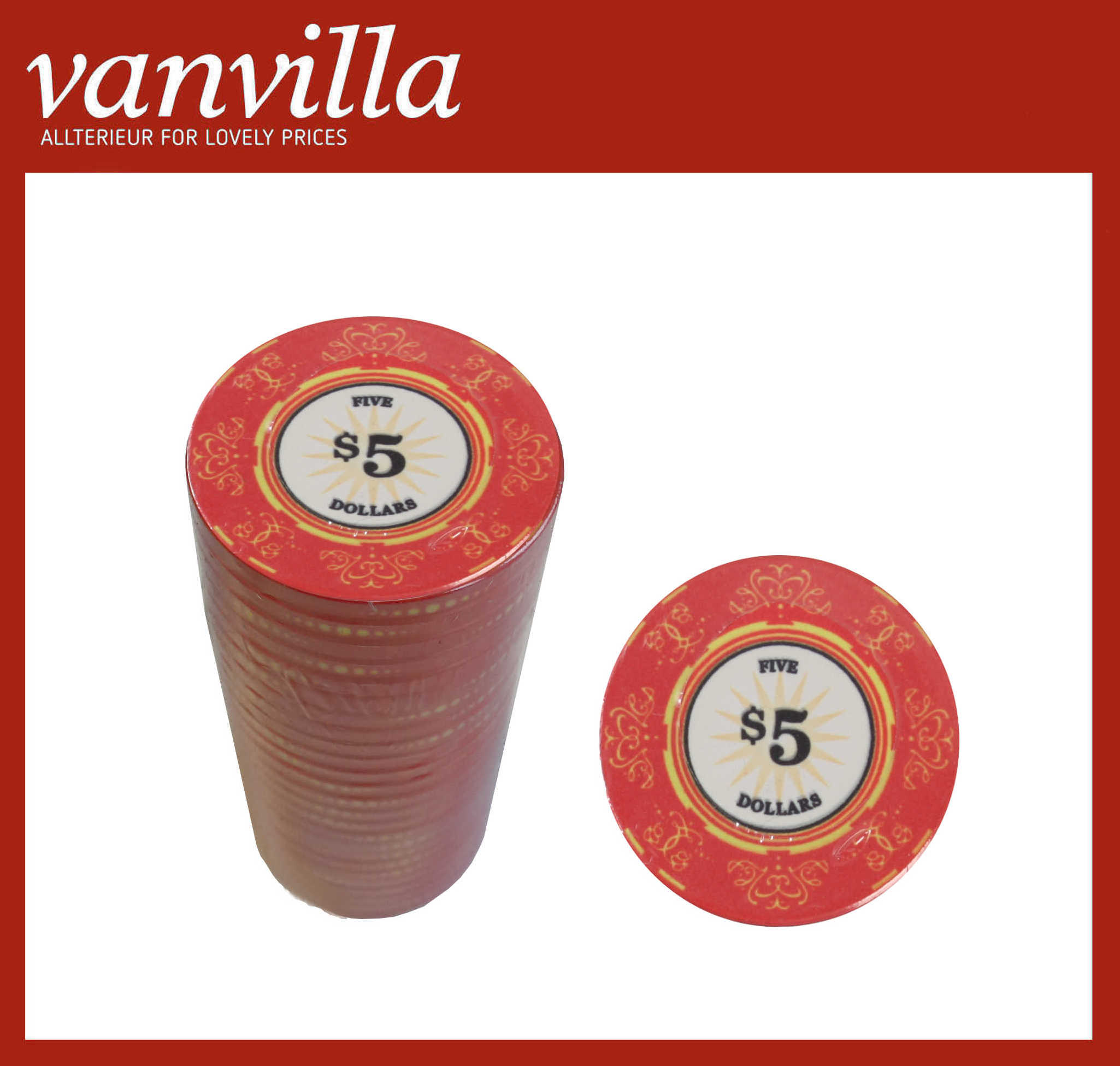 vanvilla Pokerchips Keramik WERT 5 Keramikchips Poker 25 Chips