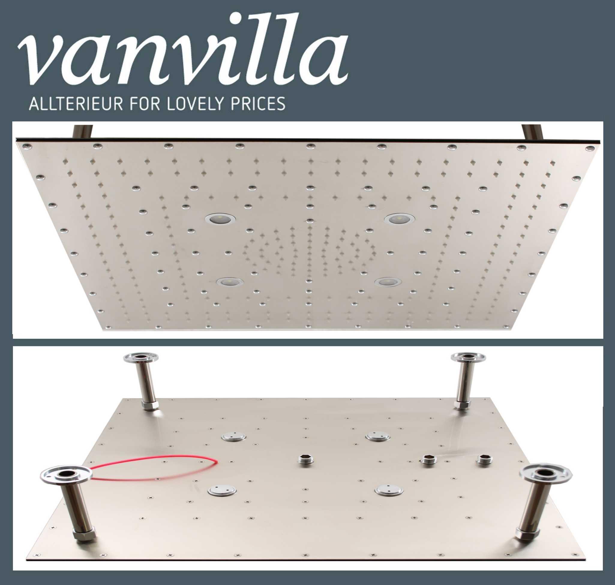 Duschkopf vanvilla Slim Design LED 60cm x 60cm Edelstahl gebürstet, 851S