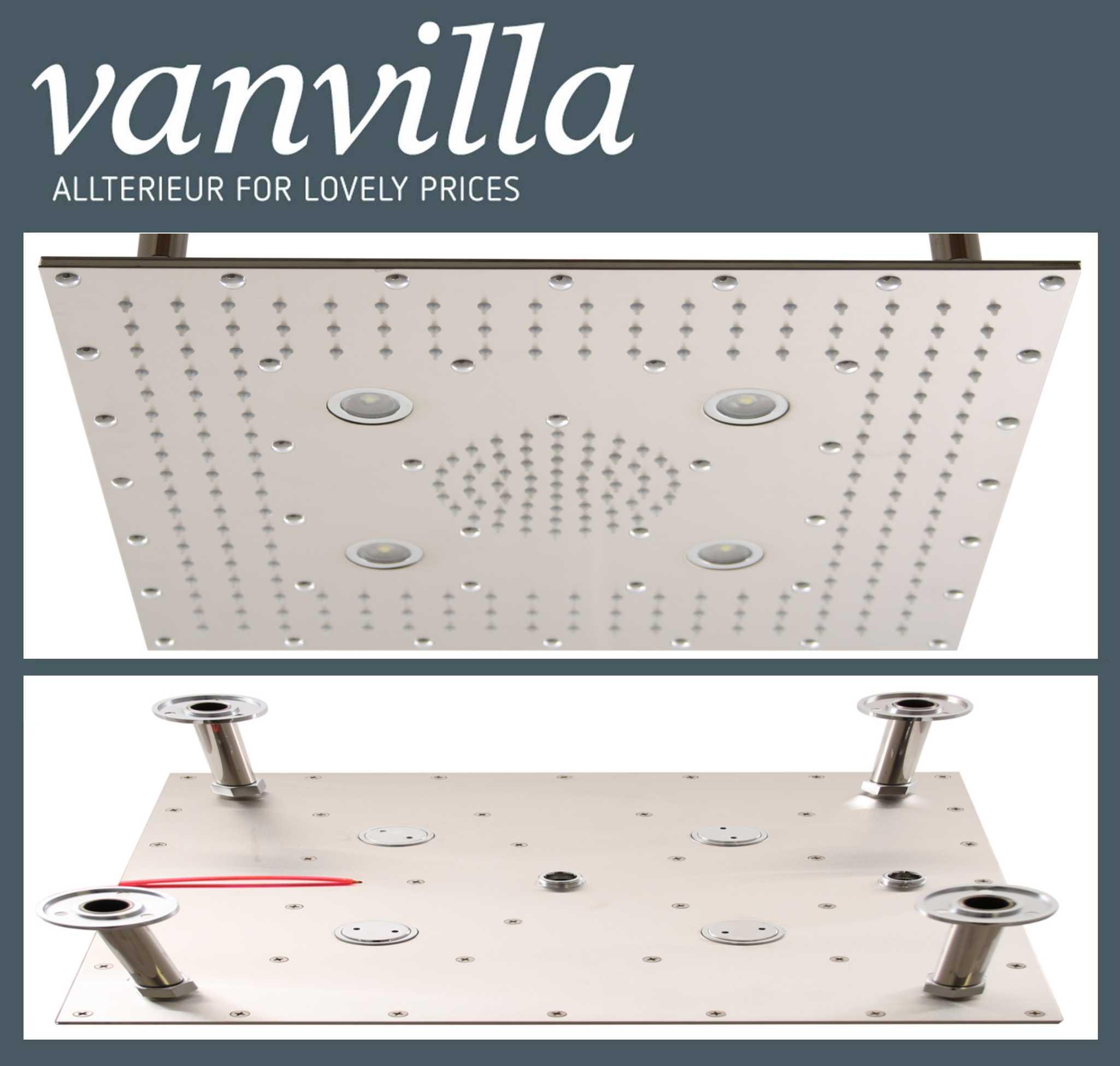 Duschkopf vanvilla Slim Design LED, 40cm x 40cm, Edelstahl gebürstet ...