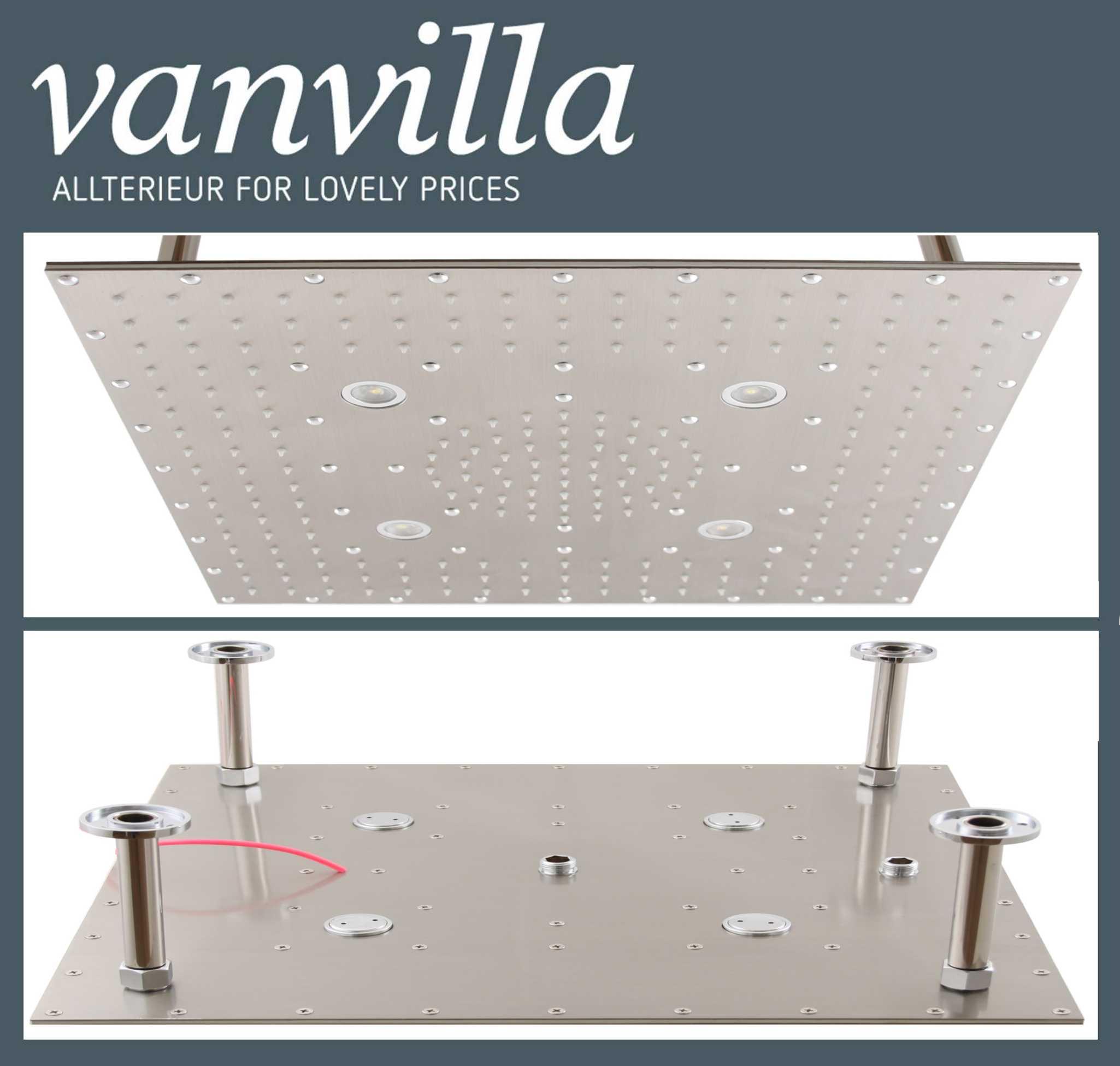 Duschkopf vanvilla Slim Design LED, 50cm x 50cm Edelstahl gebürstet ...