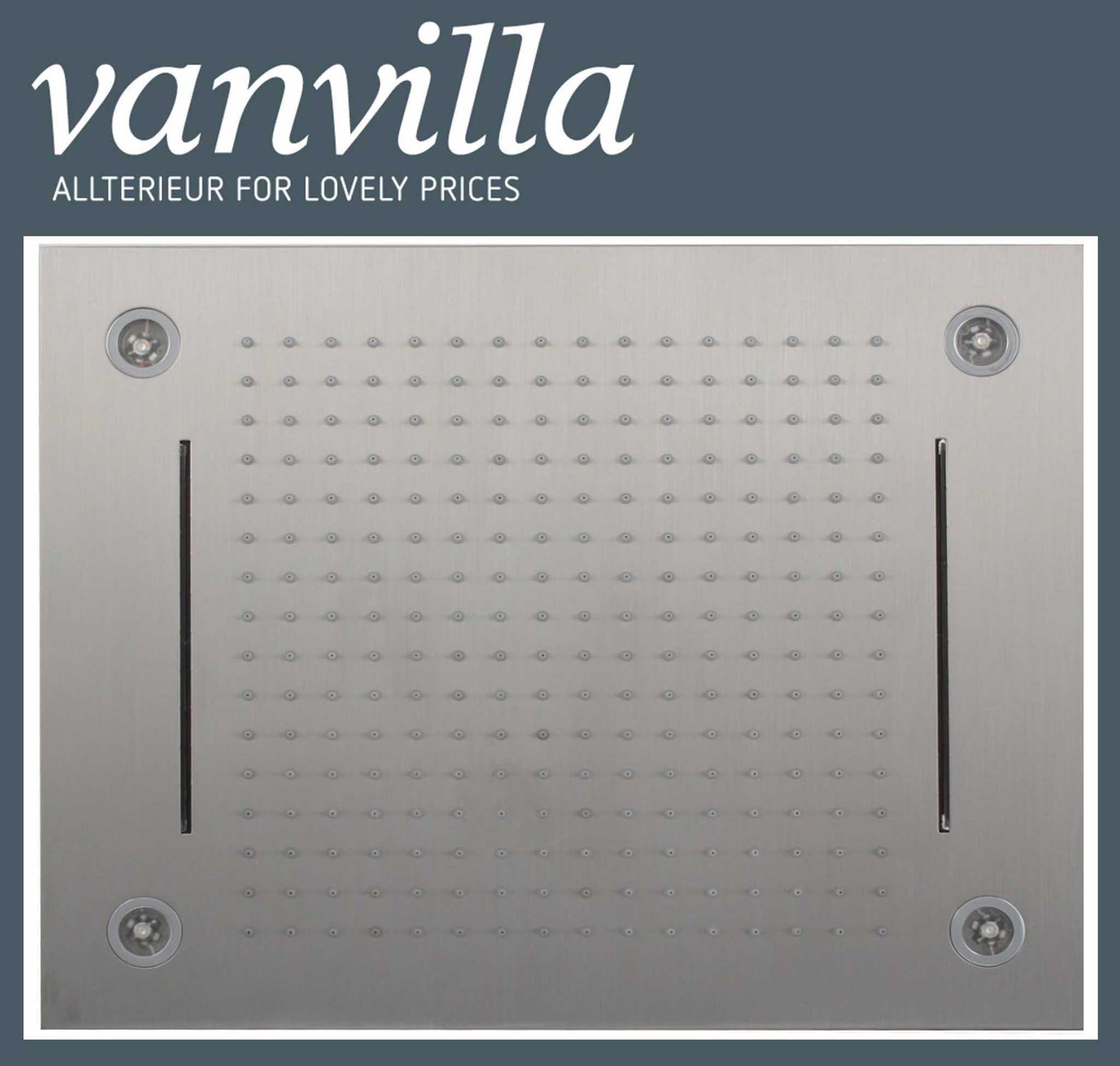 duschkopf vanvilla led 50cm x 40cm edelstahl geb rstet. Black Bedroom Furniture Sets. Home Design Ideas