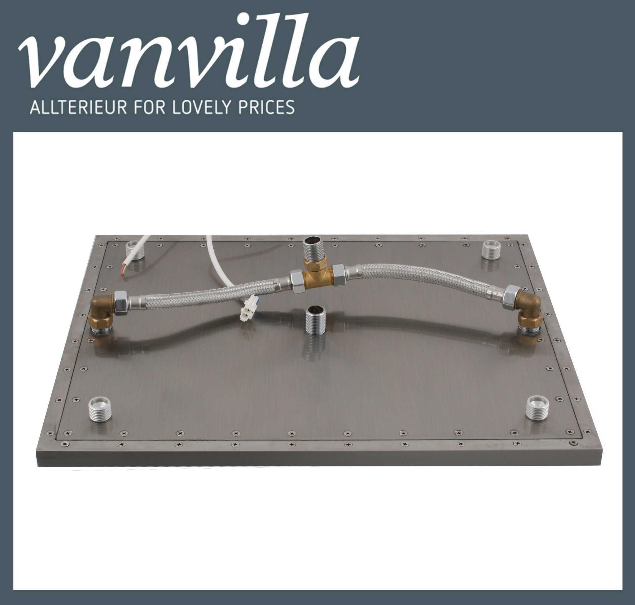 duschkopf vanvilla led 50cm x 40cm, edelstahl gebürstet, 8081-s/8134 - Regendusche Led
