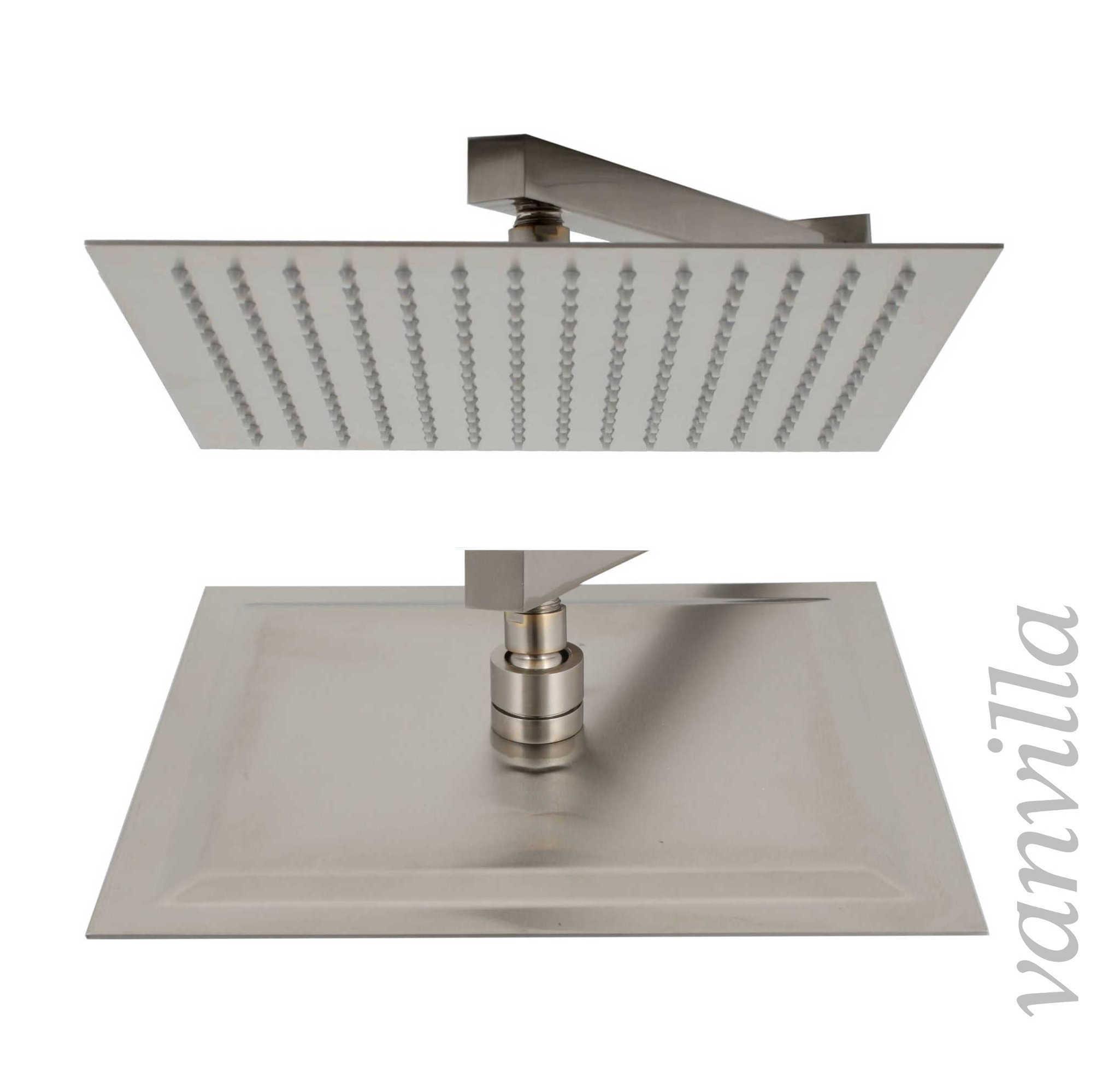 Ultra slim duschkopf edelstahl geb rstet regendusche regenbrause brausekopf ebay - Quadratische edelstahl designer duschkopf ...