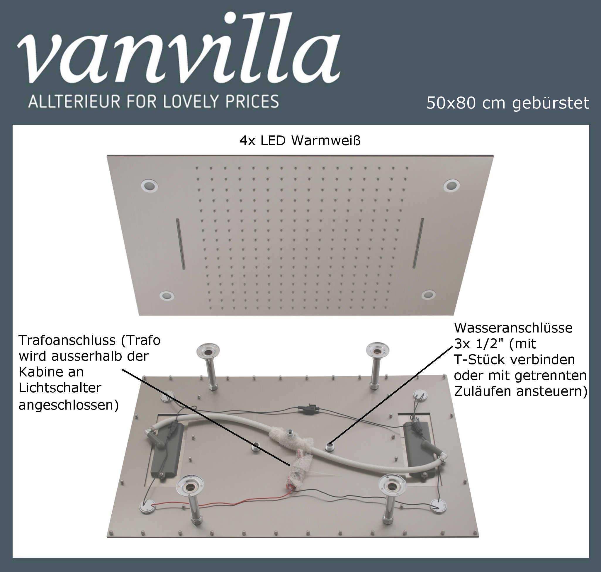 Duschkopf vanvilla LED 50cm x 80cm gebürstet 115080W-B LED
