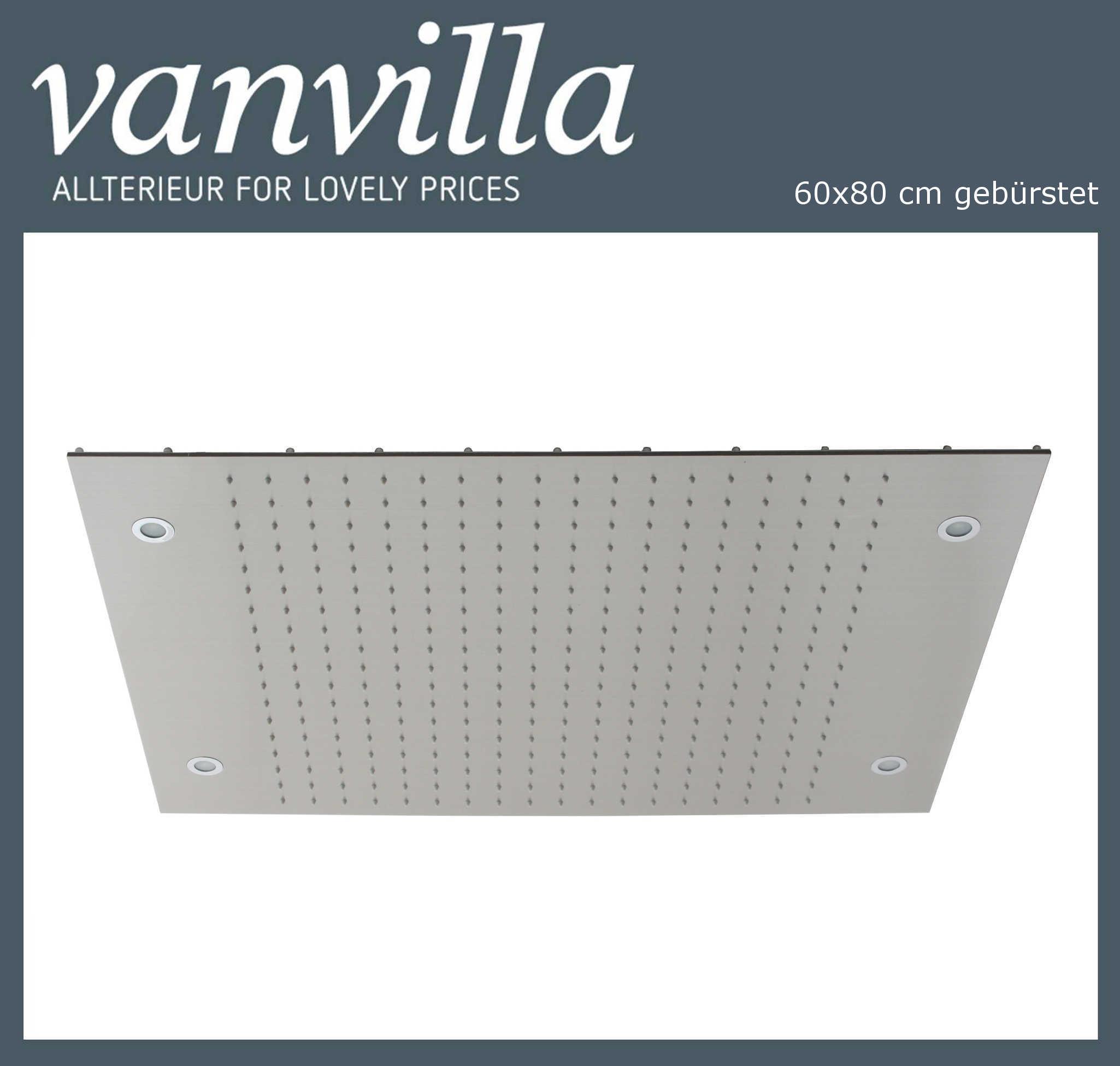 Duschkopf vanvilla LED 60cm x 80cm gebürstet 116080W-B LED