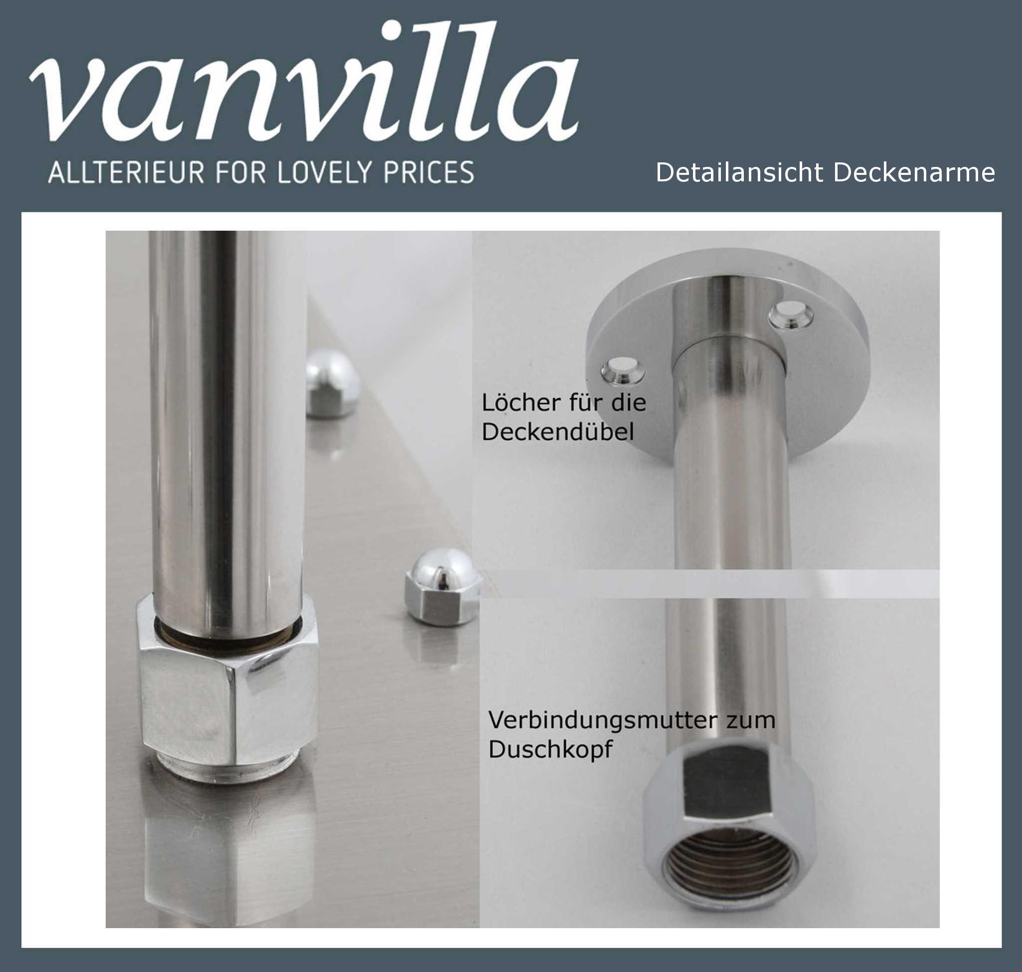 Duschkopf vanvilla slim design led 50cm rund edelstahl geb rstet 895 s - Quadratische edelstahl designer duschkopf ...