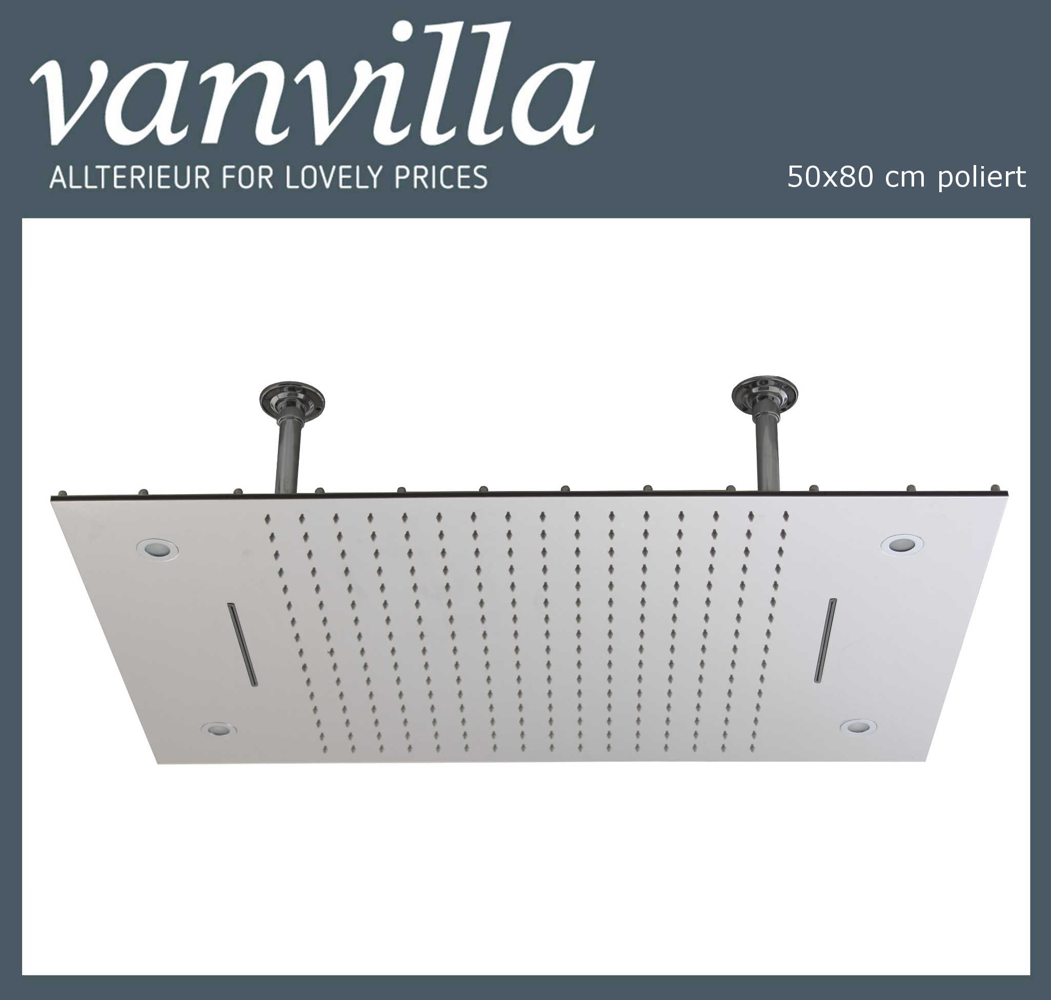 Duschkopf vanvilla LED 50cm x 80cm poliert 115080W-P LED